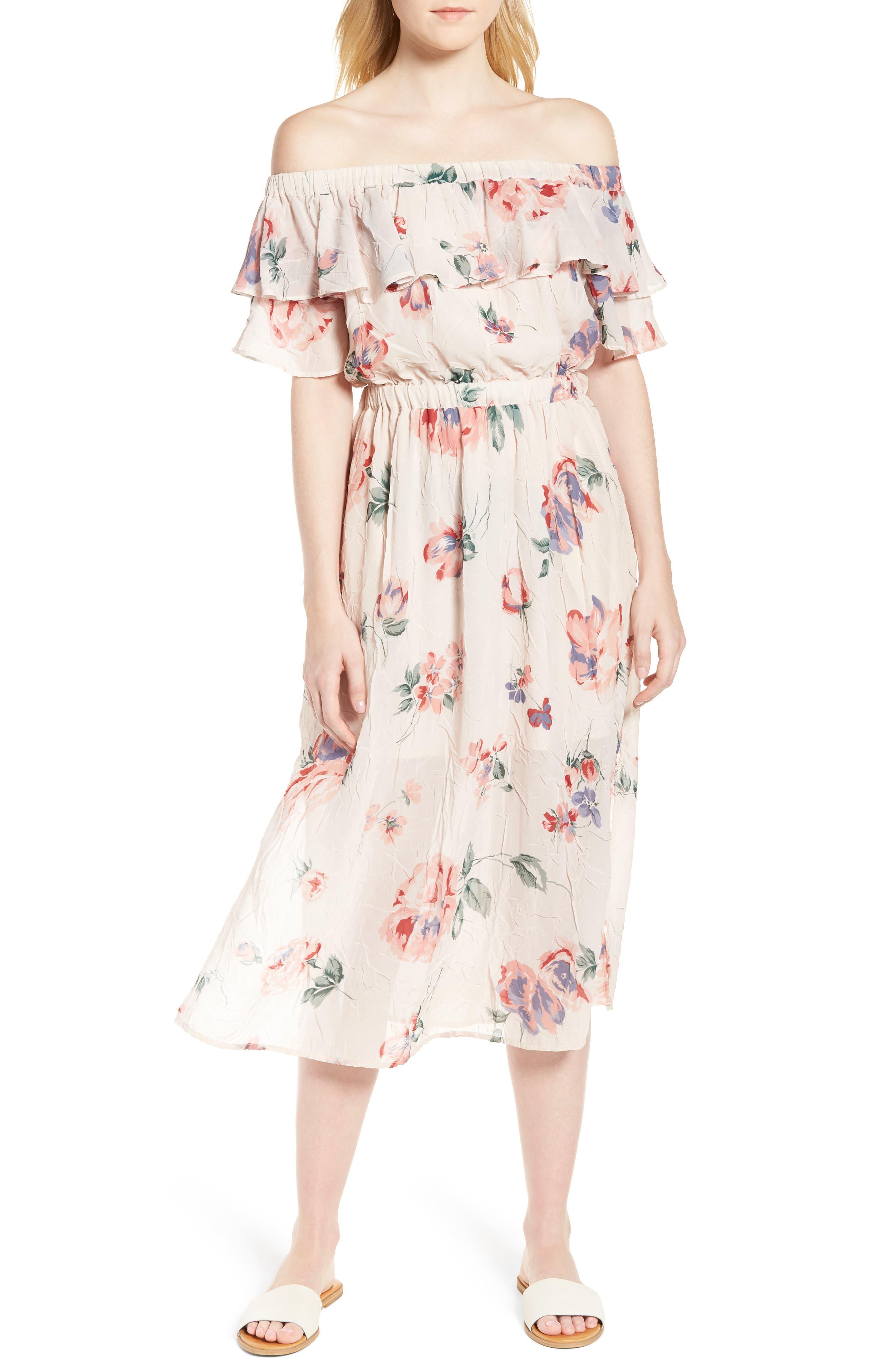 Off the Shoulder Floral Midi Dress,                             Main thumbnail 1, color,                             950