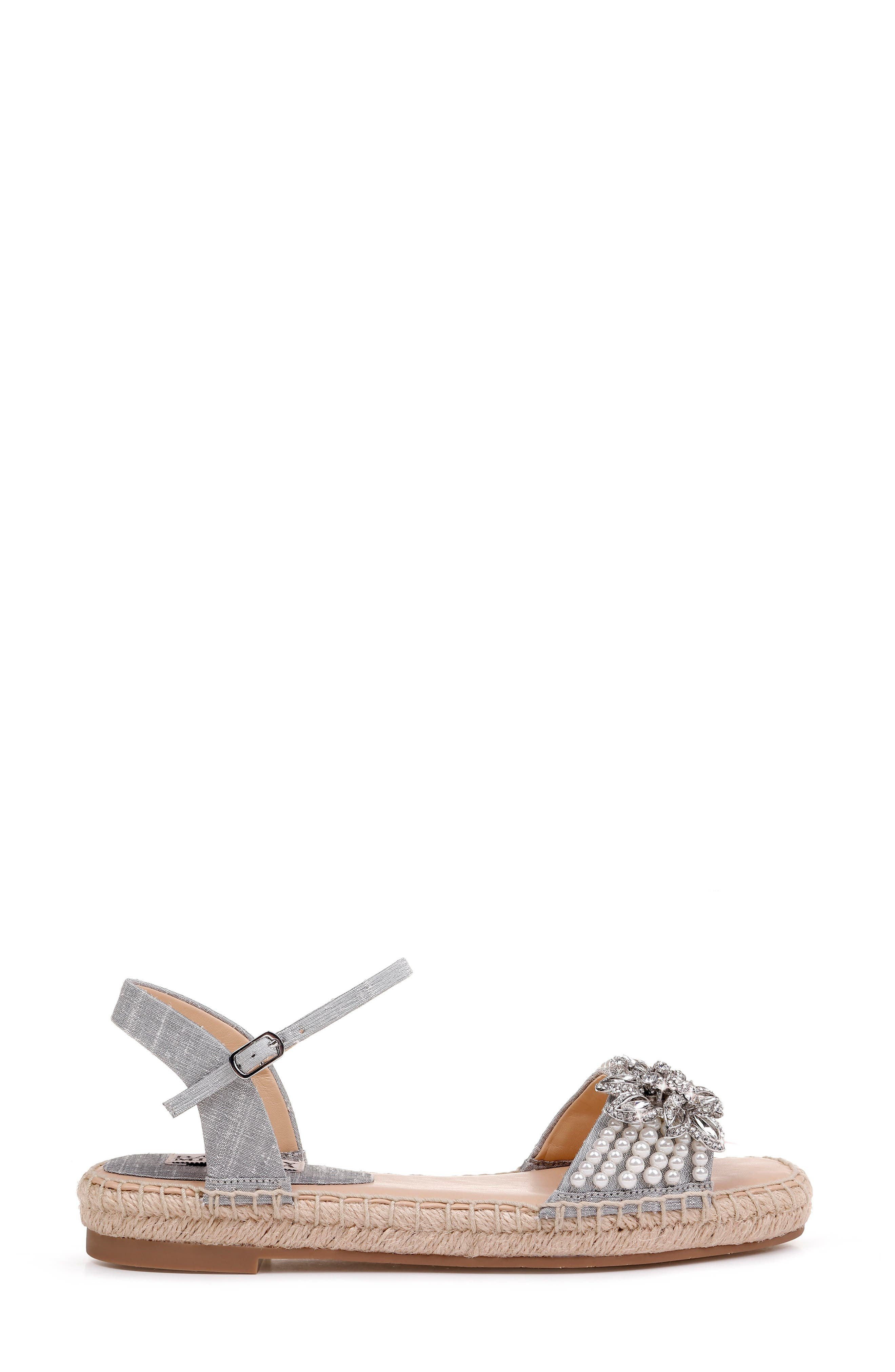 Badgley Mischka Leandra Espadrille Sandal,                             Alternate thumbnail 3, color,                             SILVER FABRIC
