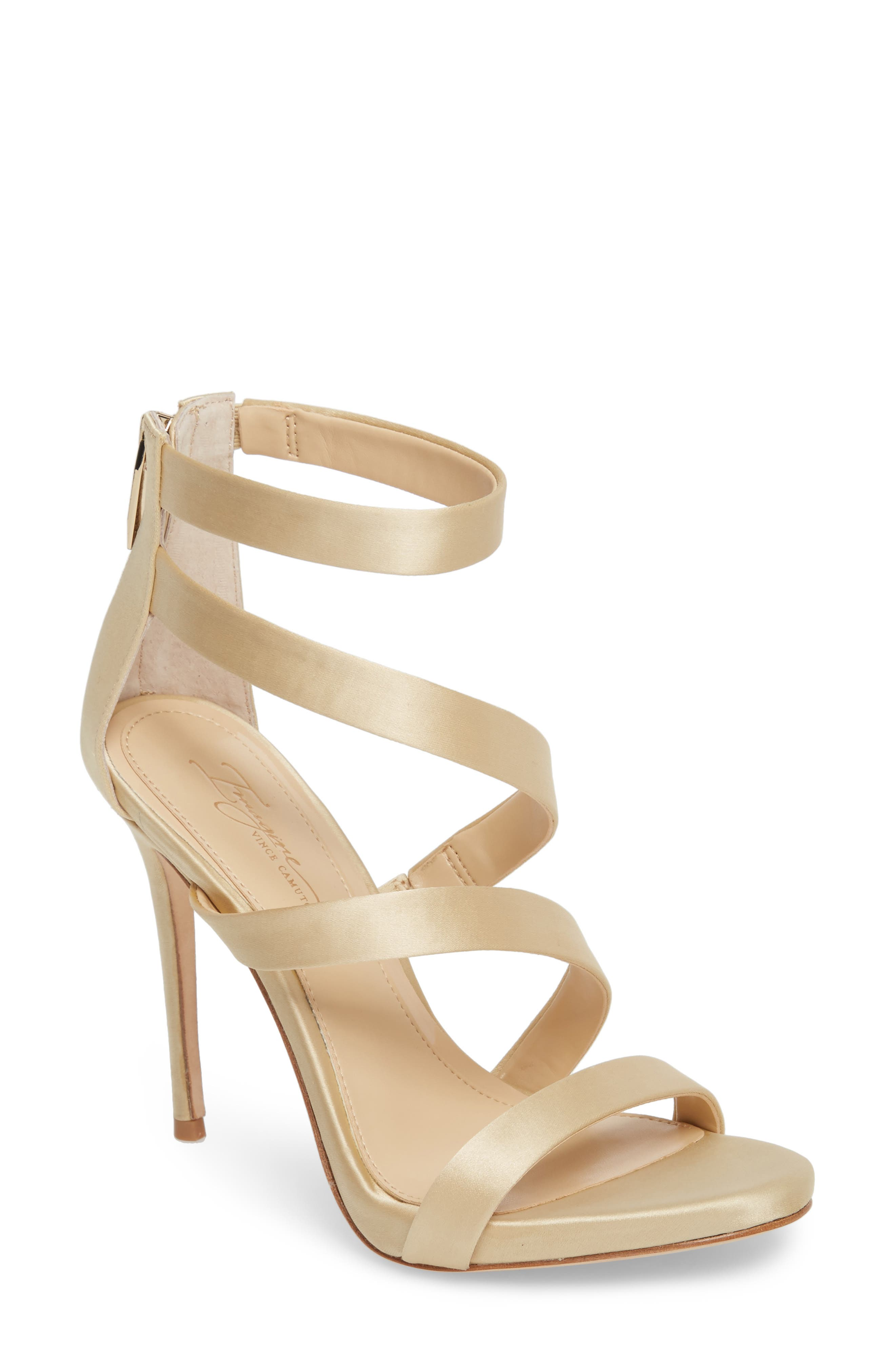 Imagine Vince Camuto Dalles Tall Strappy Sandal,                             Main thumbnail 1, color,                             SOFT GOLD SATIN