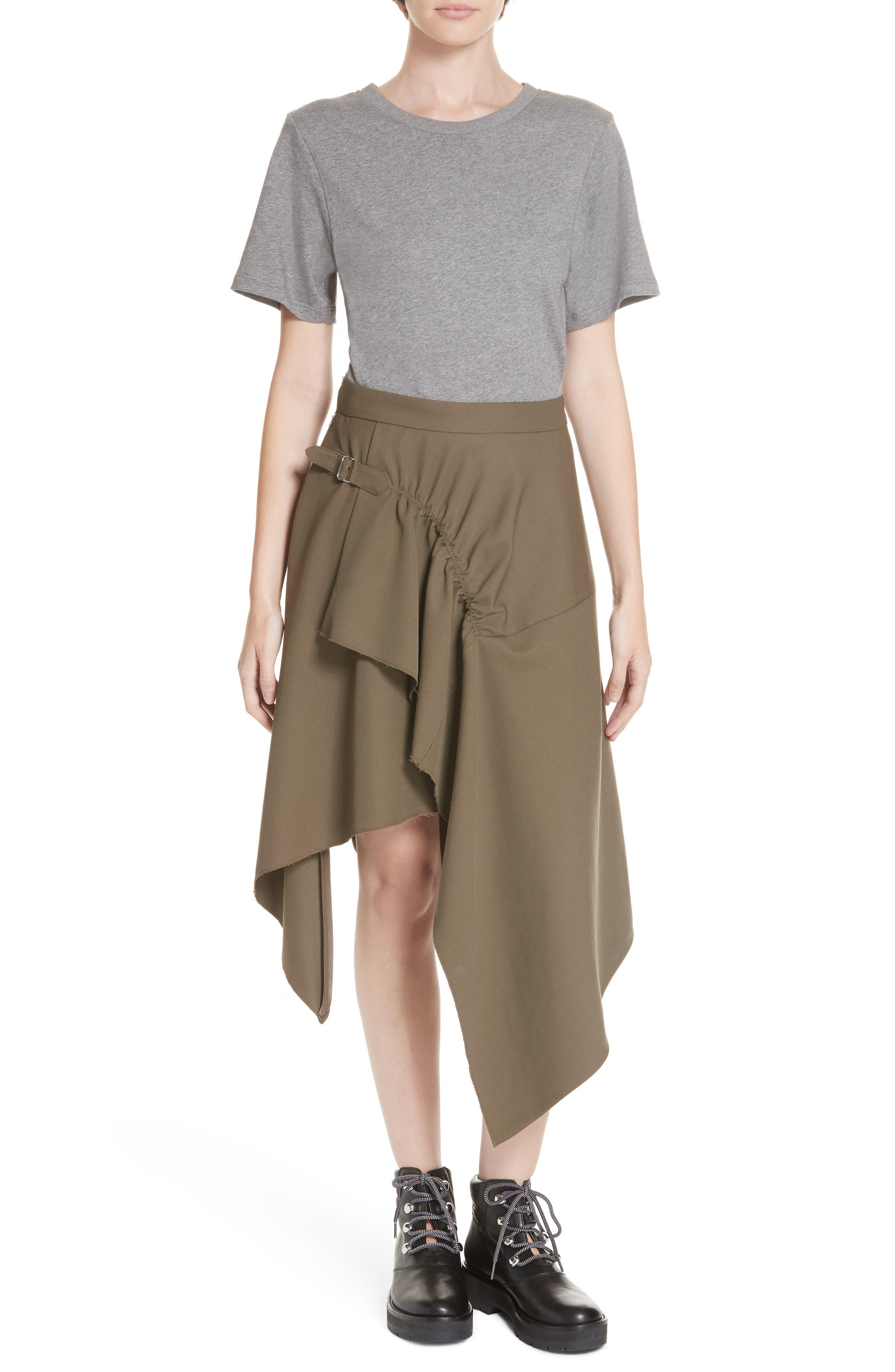 Mixed Media Wool & Cotton T-Shirt Dress,                         Main,                         color, FIR GREEN