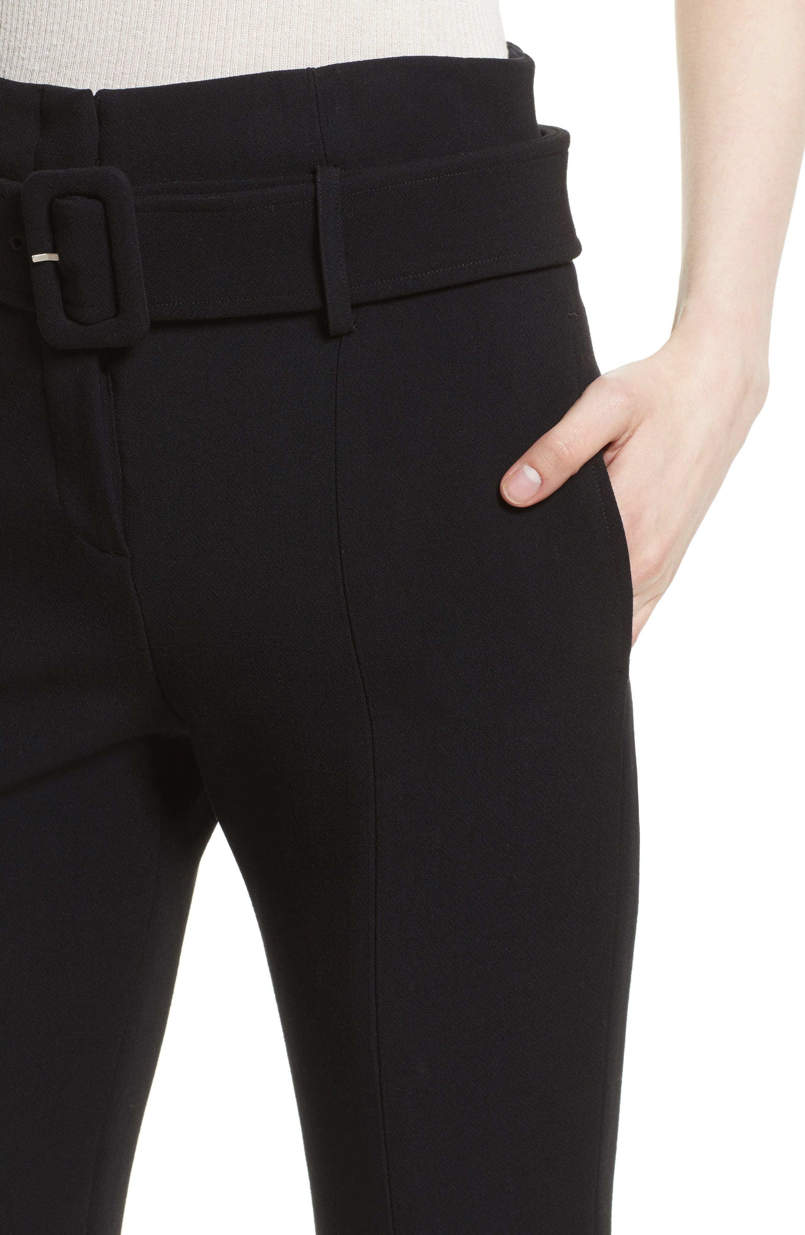 Camogie Belted Cigarette Pants,                             Alternate thumbnail 4, color,                             001