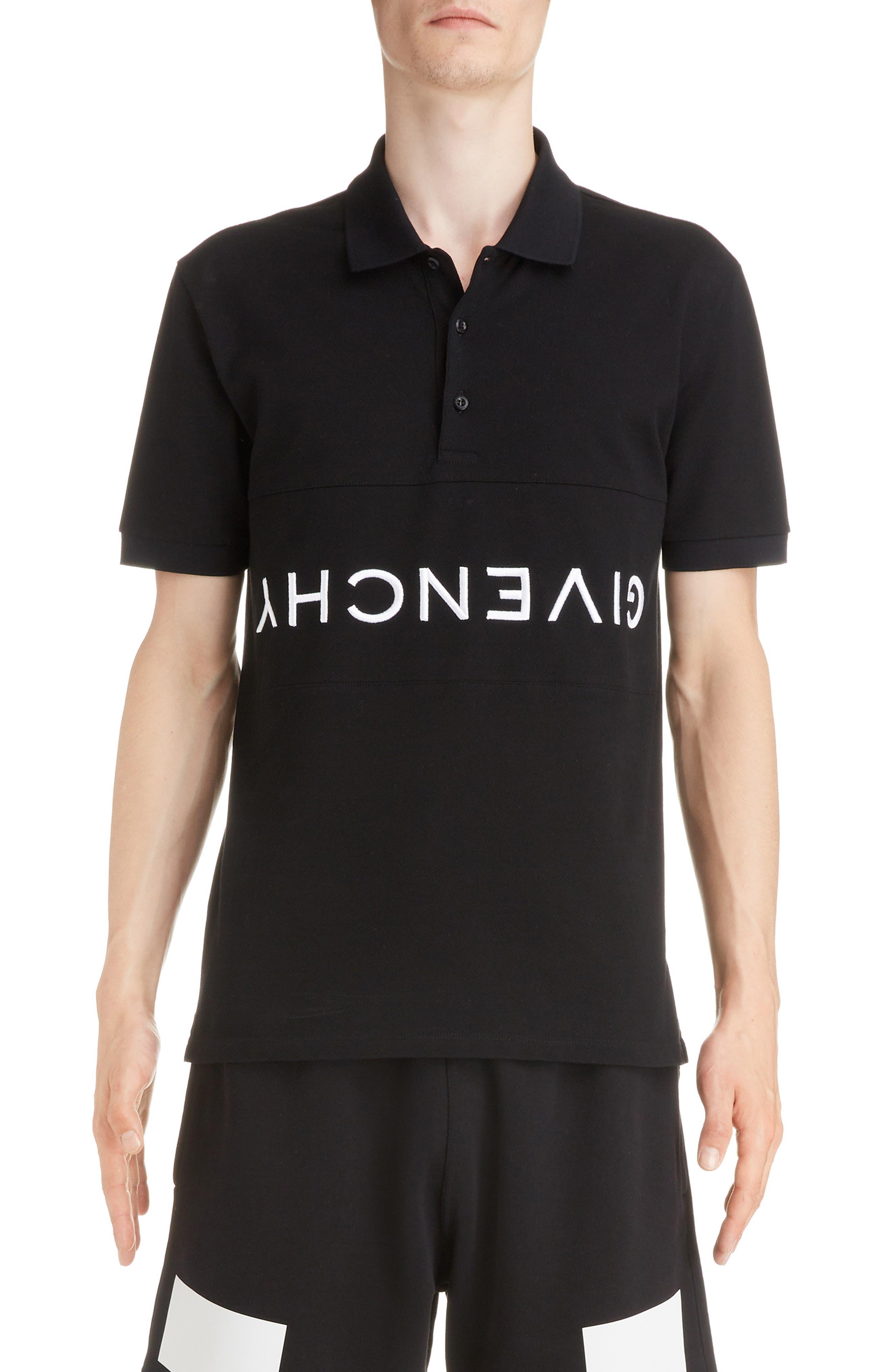 Upside Down Logo Piqué Polo, Main, color, BLACK