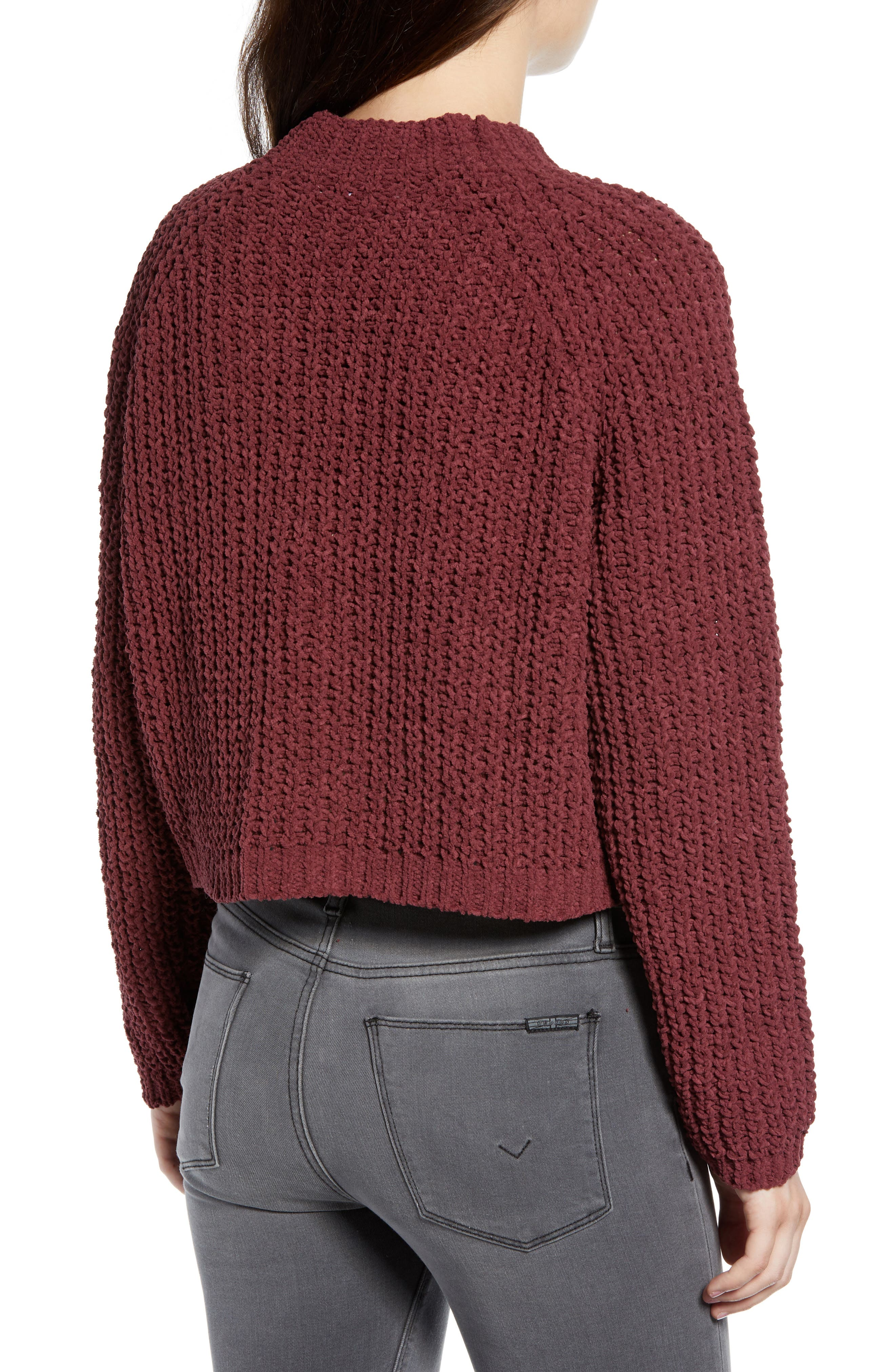 Chenille Sweater,                             Alternate thumbnail 2, color,                             RED RUMBA