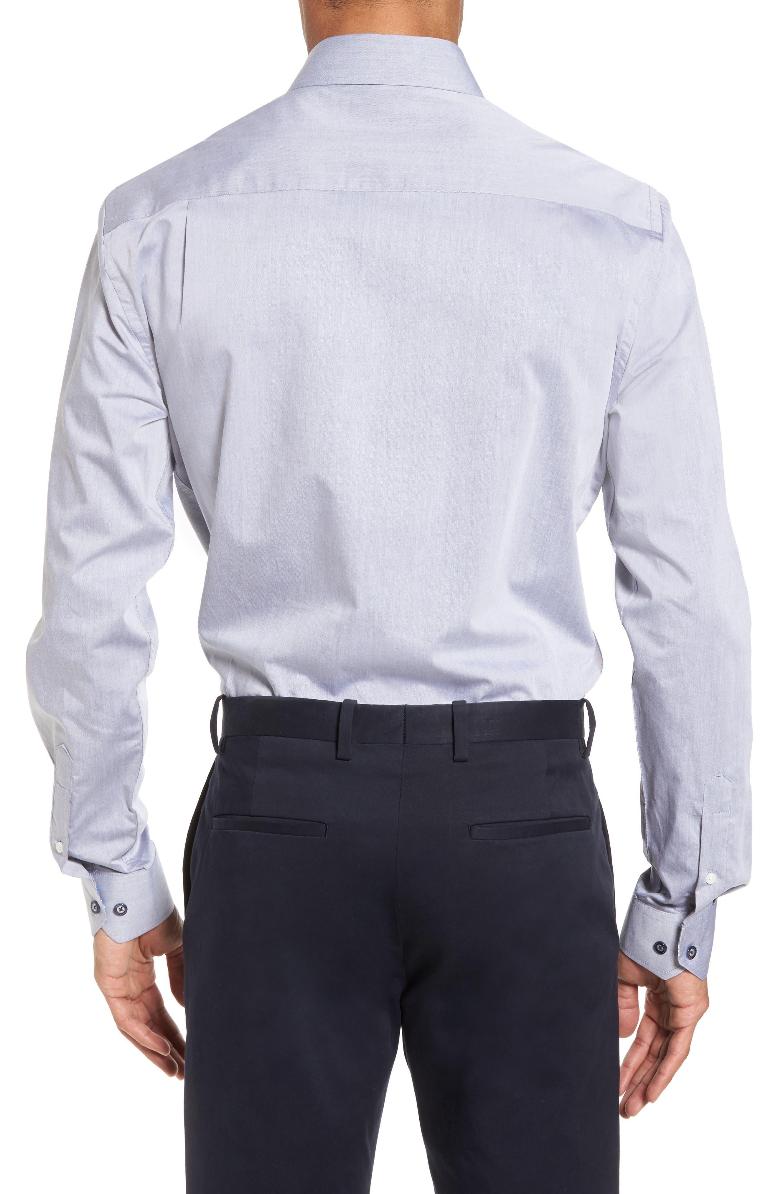 Trim Fit Solid Dress Shirt,                             Alternate thumbnail 2, color,                             GREY