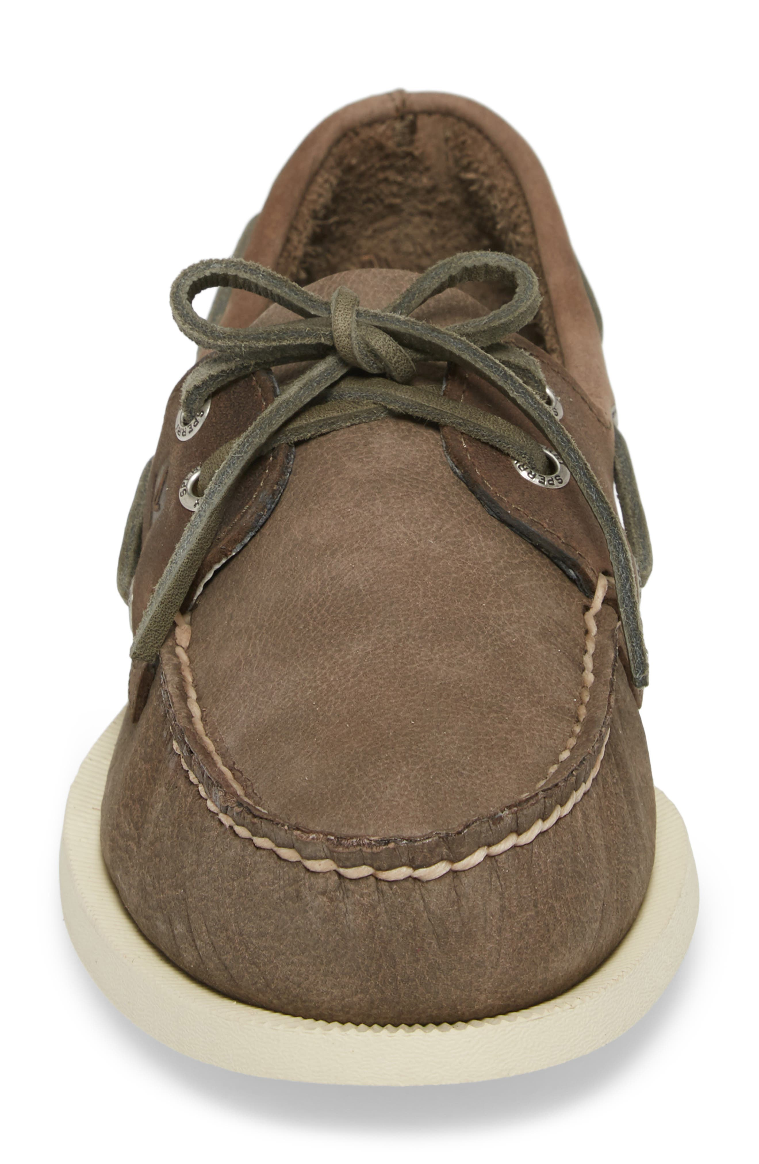 Authentic Original Two-Eye Boat Shoe,                             Alternate thumbnail 4, color,                             GREY/ CHARCOAL LEATHER