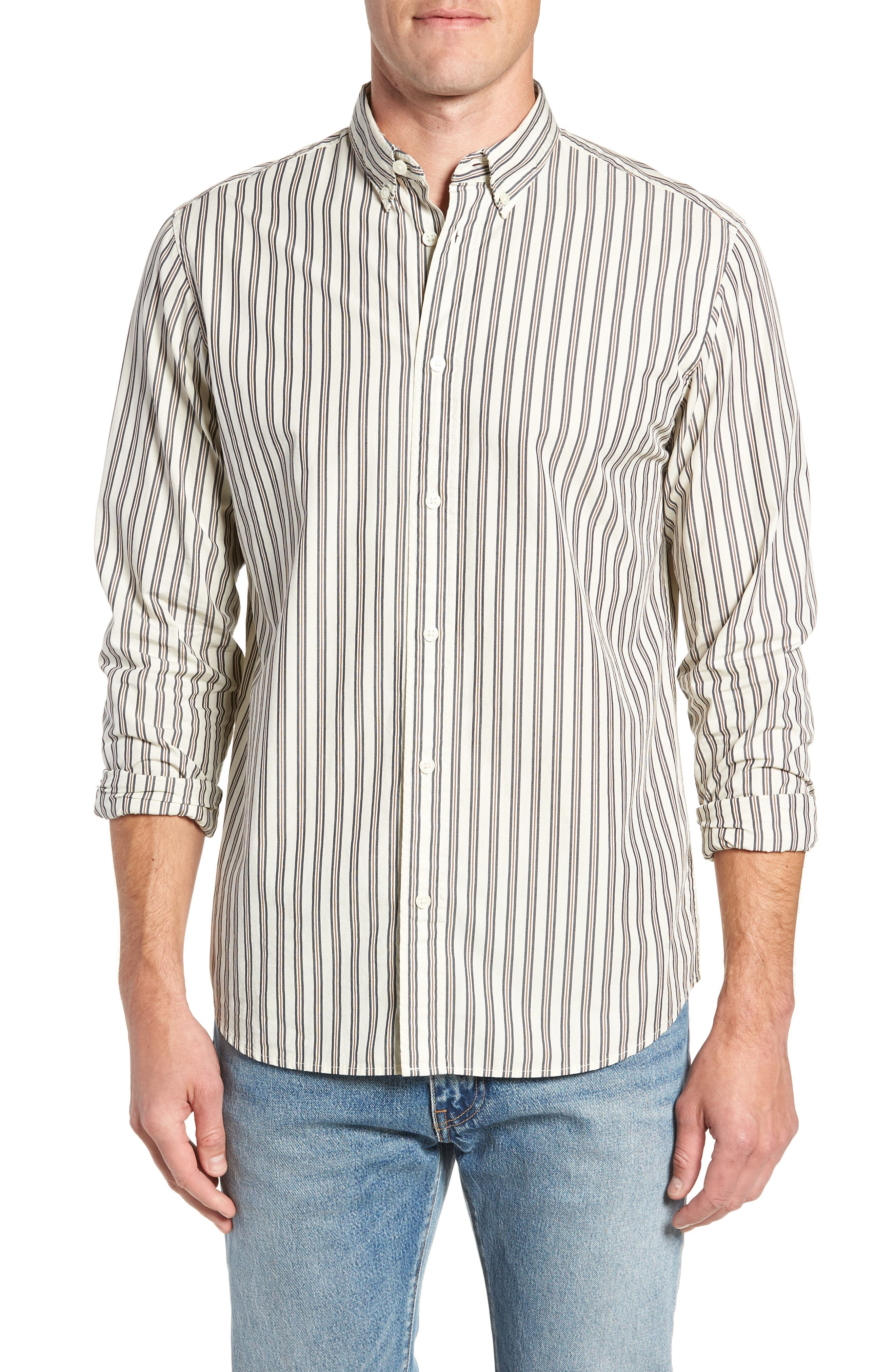 Carl Regular Fit Stripe Sport Shirt,                         Main,                         color, OYSTER GREY STRIPES