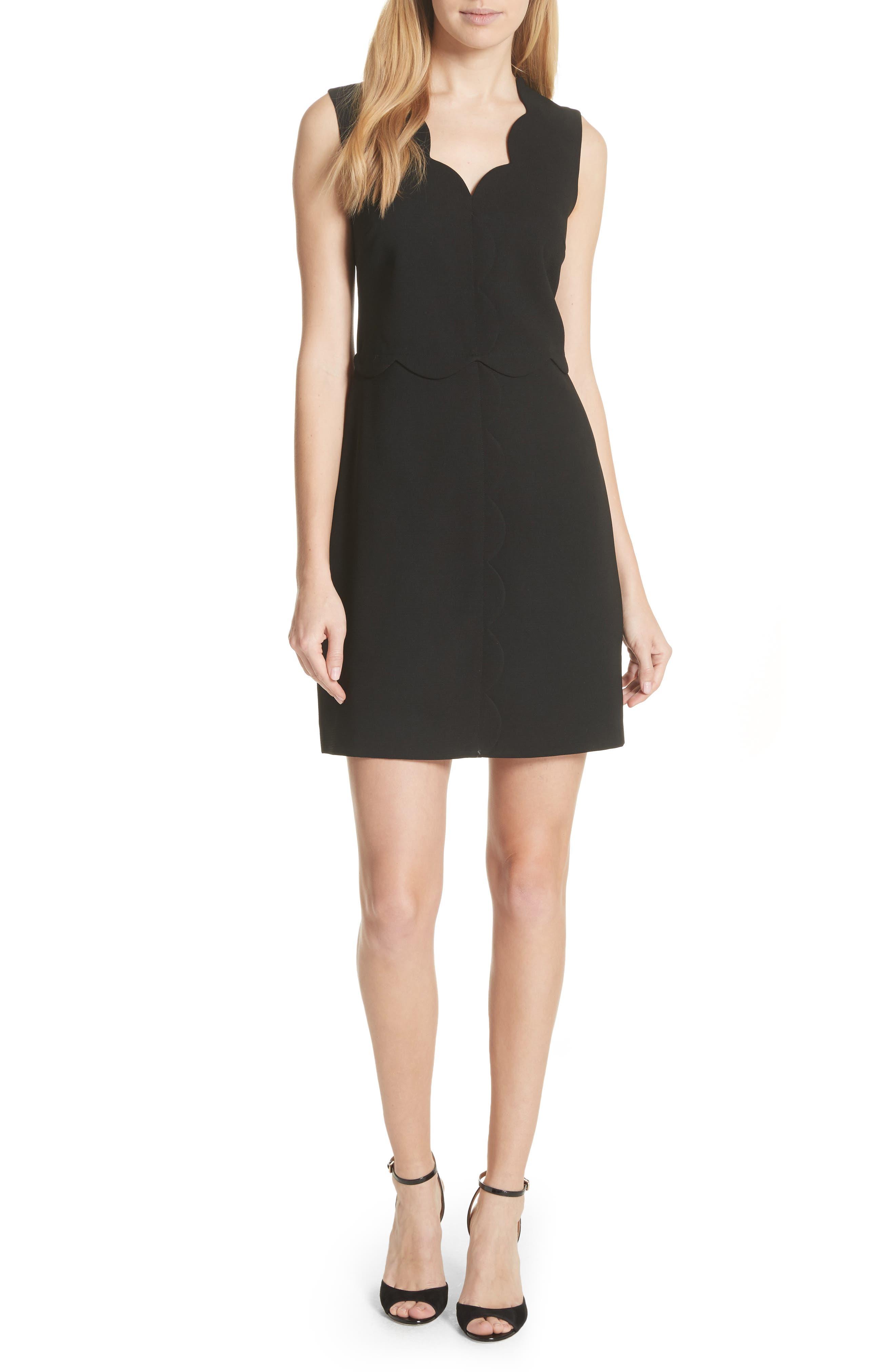 Scallop Edge Shift Dress,                         Main,                         color, 001