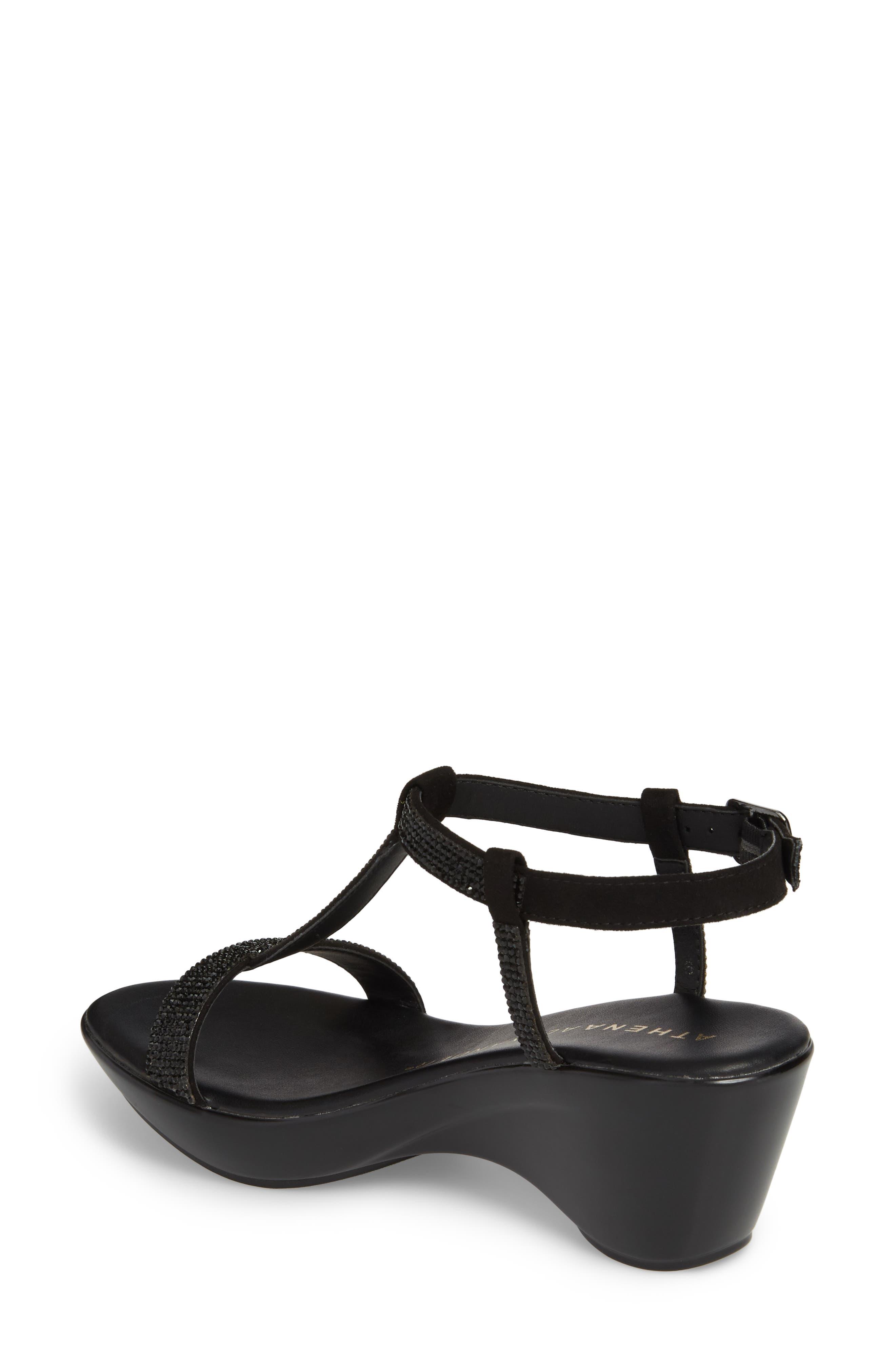 Athena Alexandar Karinya Embellished Strappy Wedge Sandal,                             Alternate thumbnail 2, color,                             BLACK SUEDE