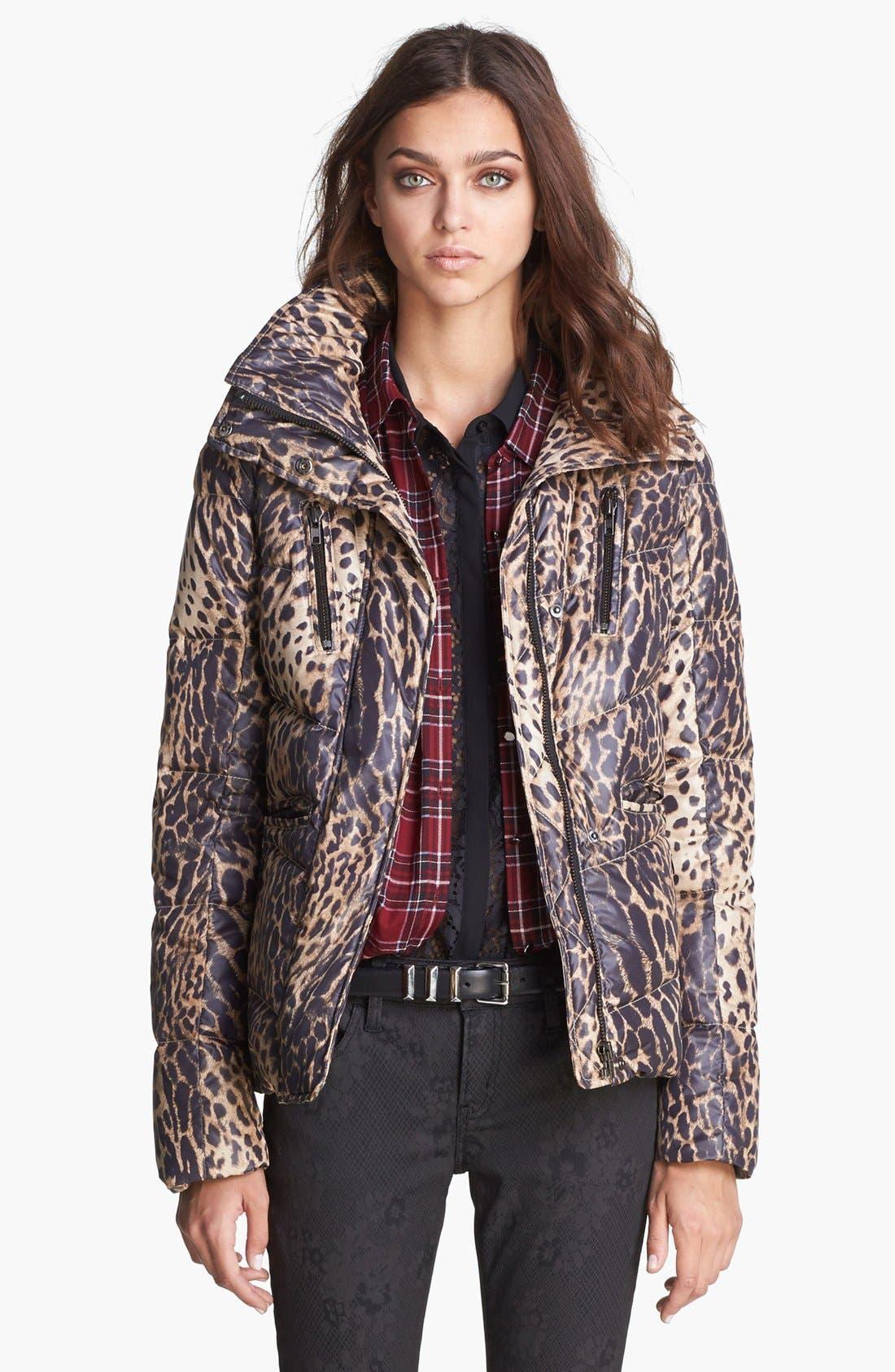 Leopard Print Puffer Jacket,                             Main thumbnail 1, color,                             250