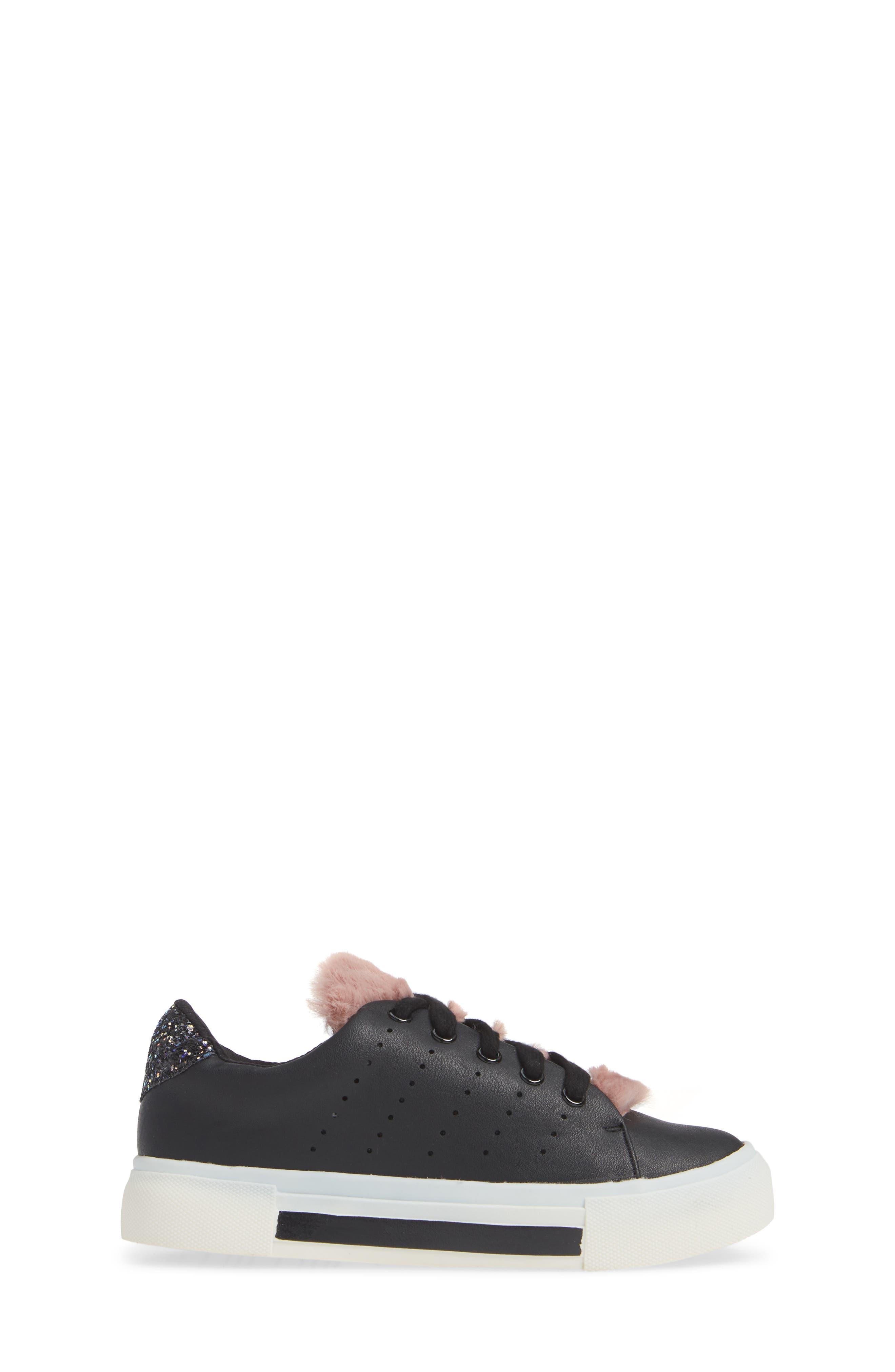 Cabel Glitter Faux Fur Sneaker,                             Alternate thumbnail 3, color,                             BLACK STELLA