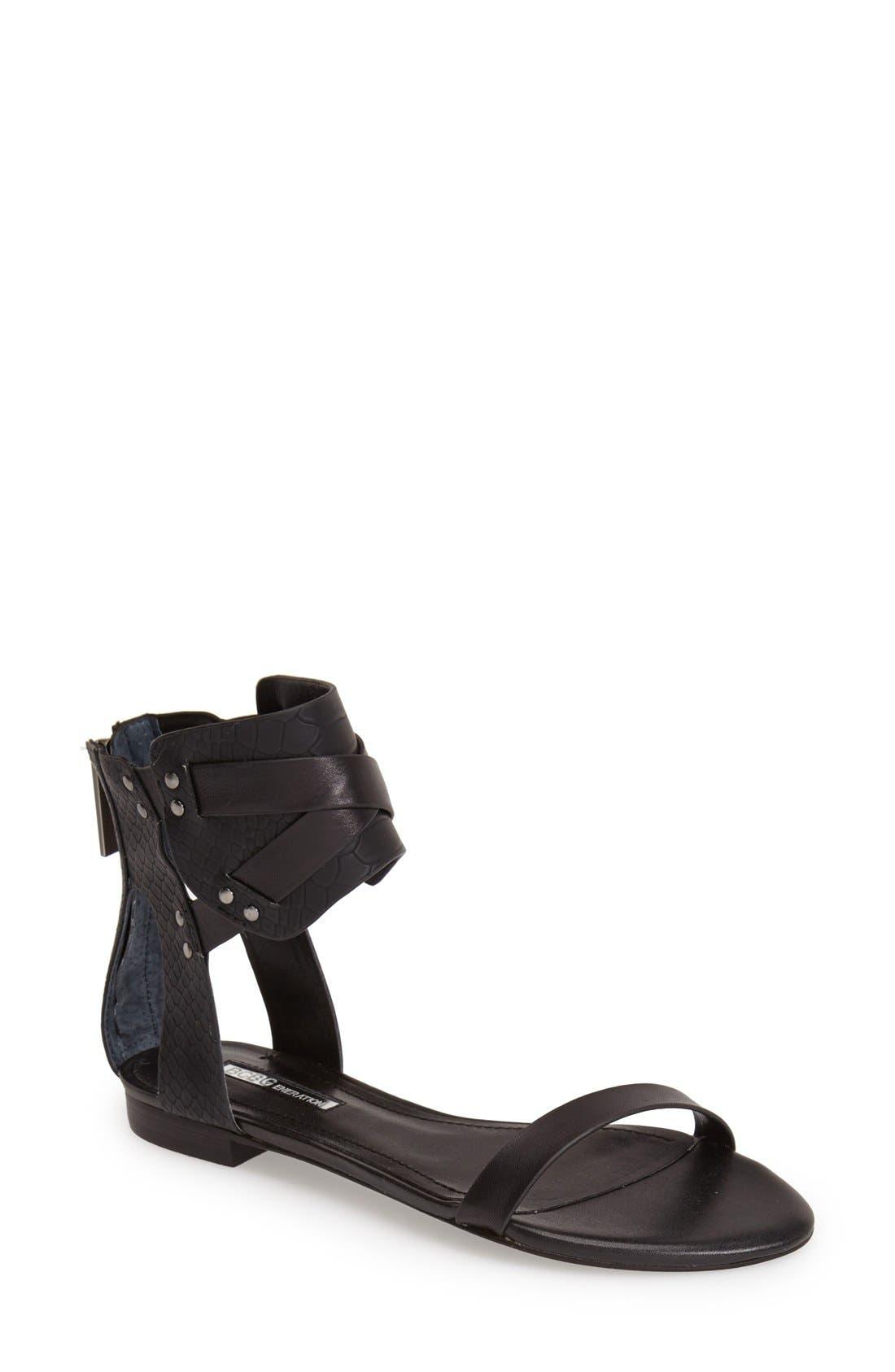'Braylin' Ankle Cuff Sandal,                         Main,                         color, 001