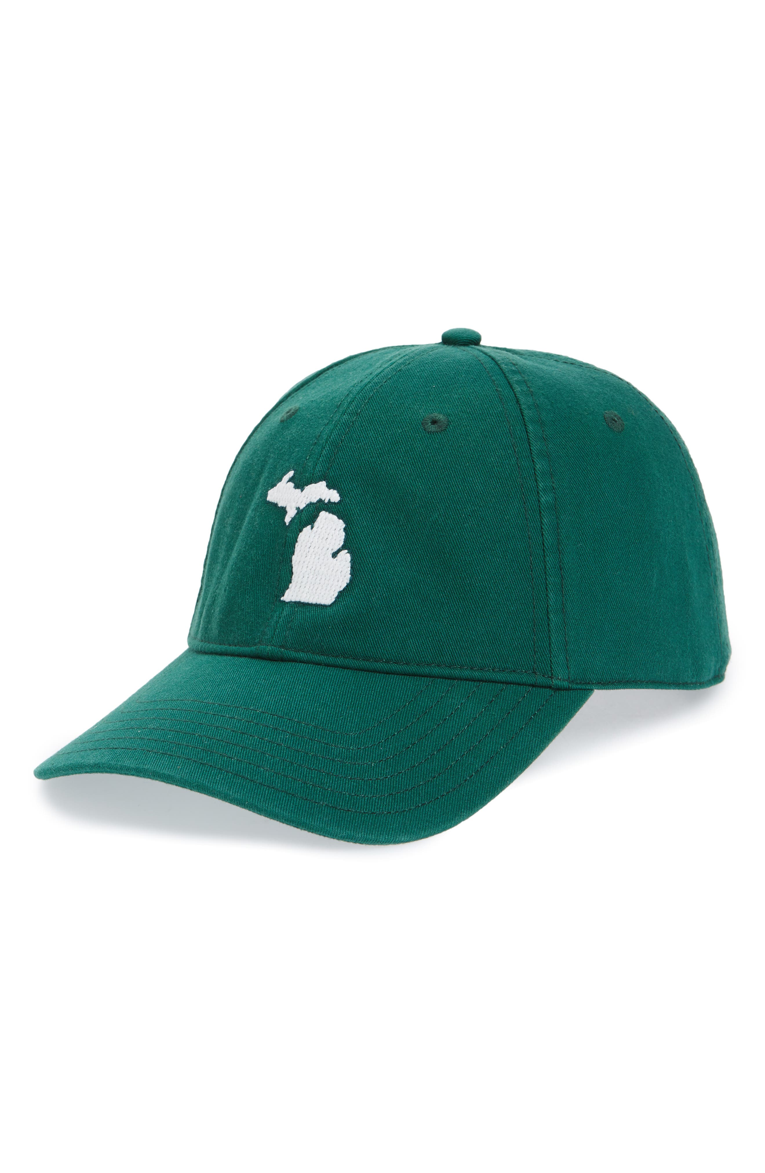 Collegiate Baseball Cap,                         Main,                         color, MICHIGAN GREEN