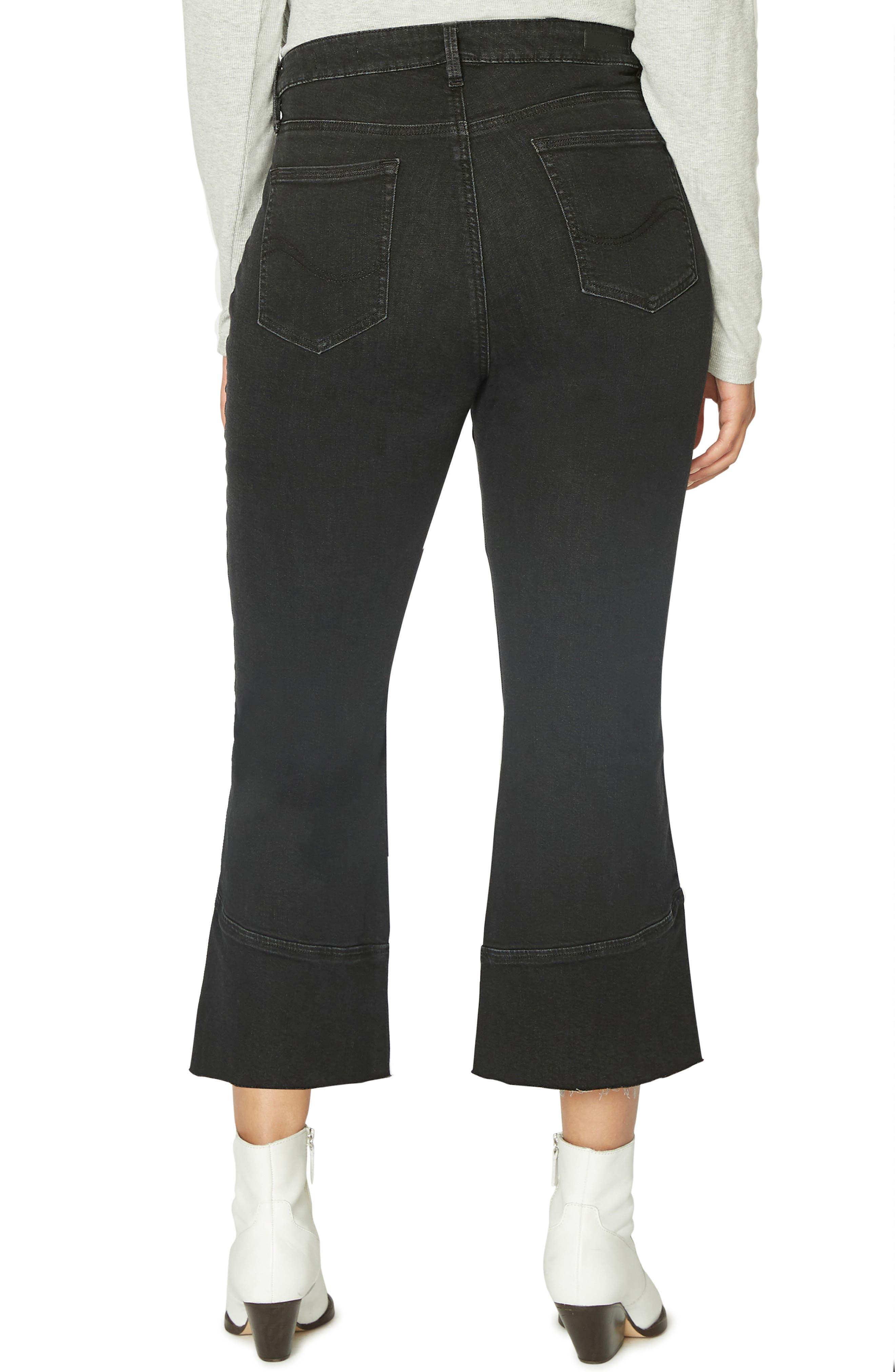 Tulip Hem Kick Crop Jeans,                             Alternate thumbnail 2, color,                             NOIR BLACK