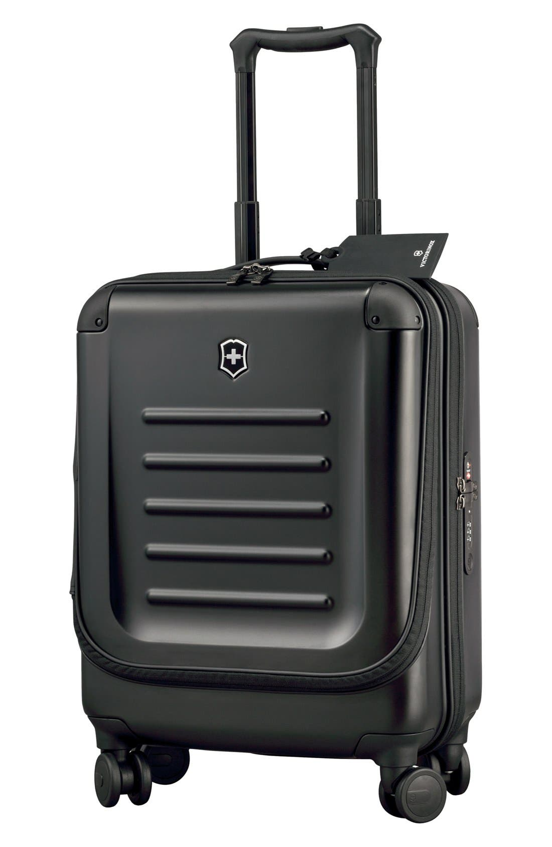 VICTORINOX SWISS ARMY<SUP>®</SUP> Spectra 2.0 Dual Access Global Hard Sided Rolling 22-Inch Carry-On, Main, color, BLACK