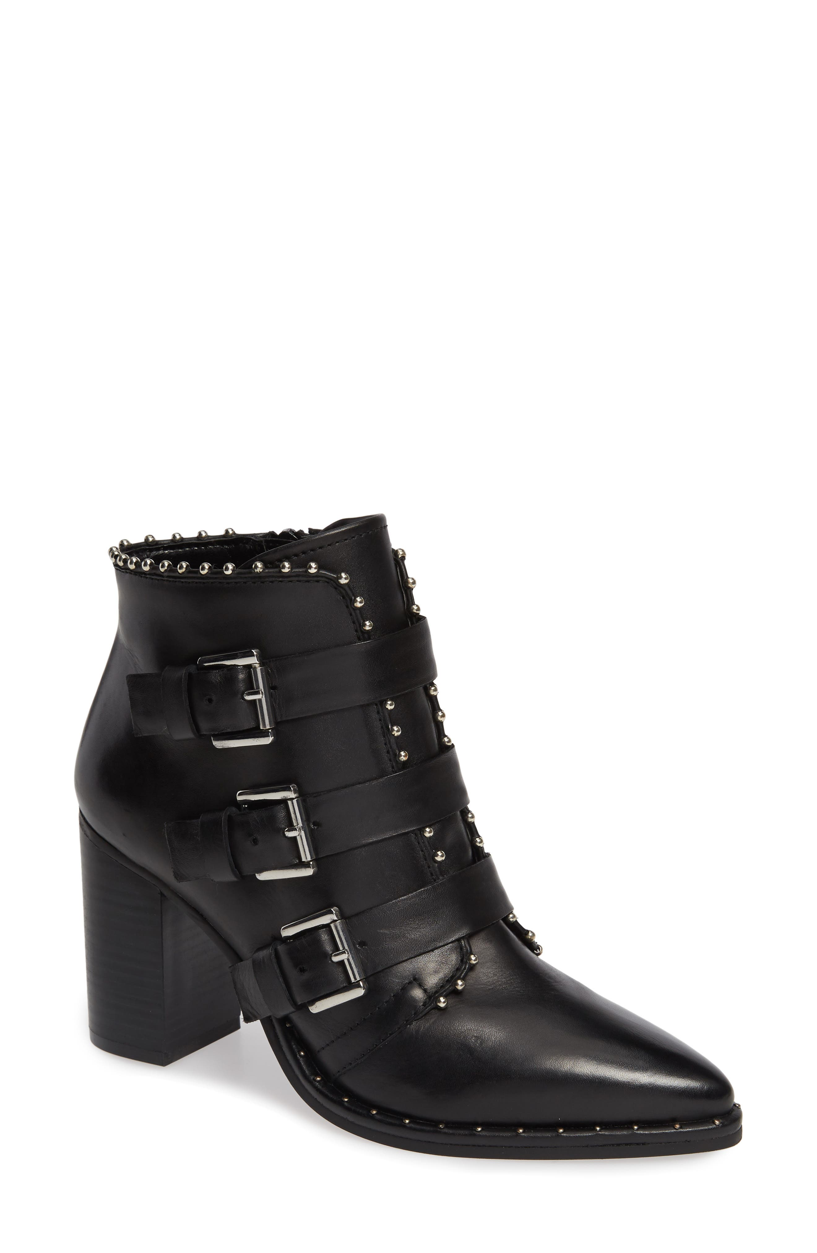 Humble Bootie,                             Main thumbnail 1, color,                             BLACK LEATHER