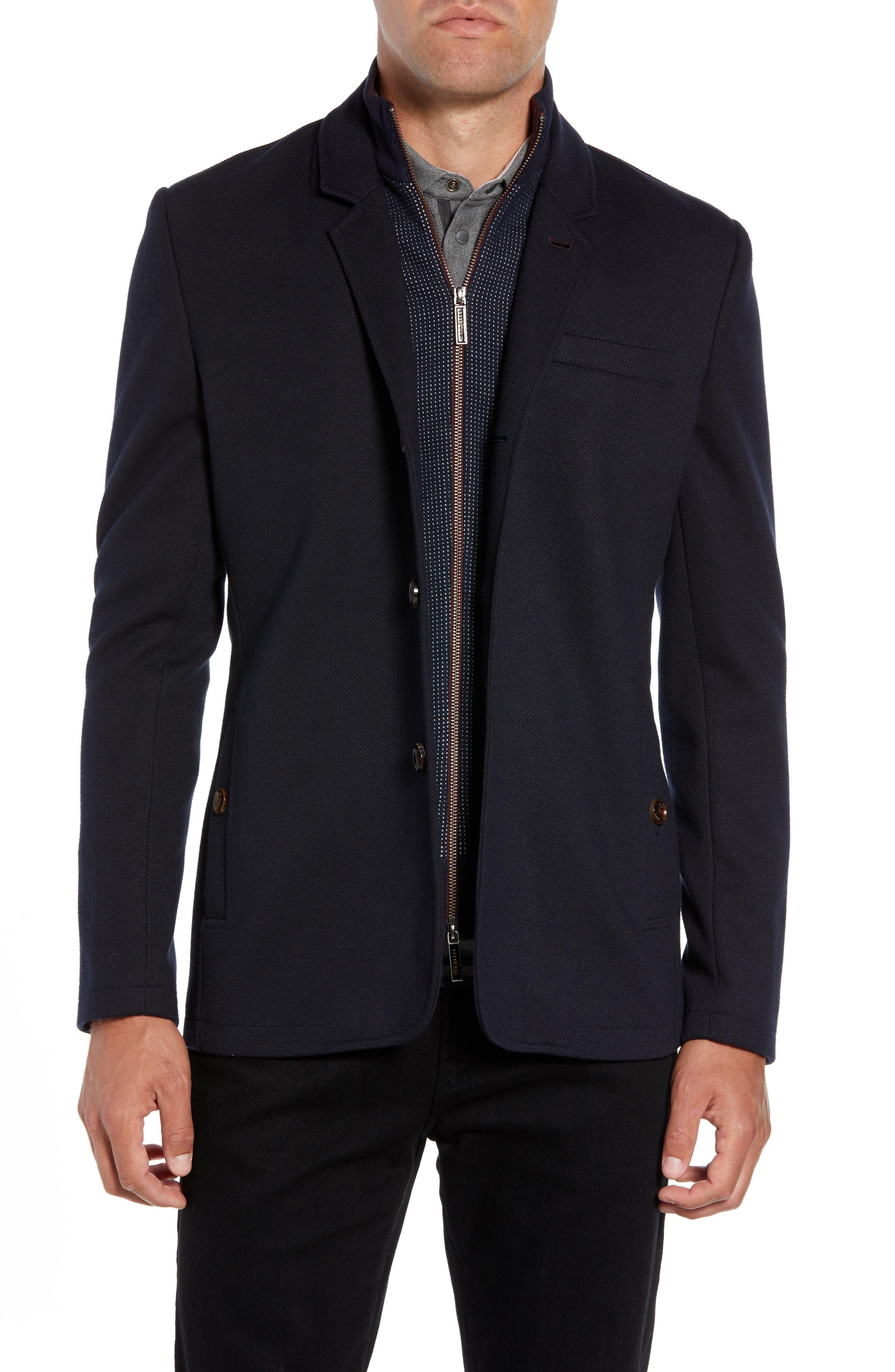 Almond Slim Fit Jersey Blazer,                         Main,                         color, NAVY