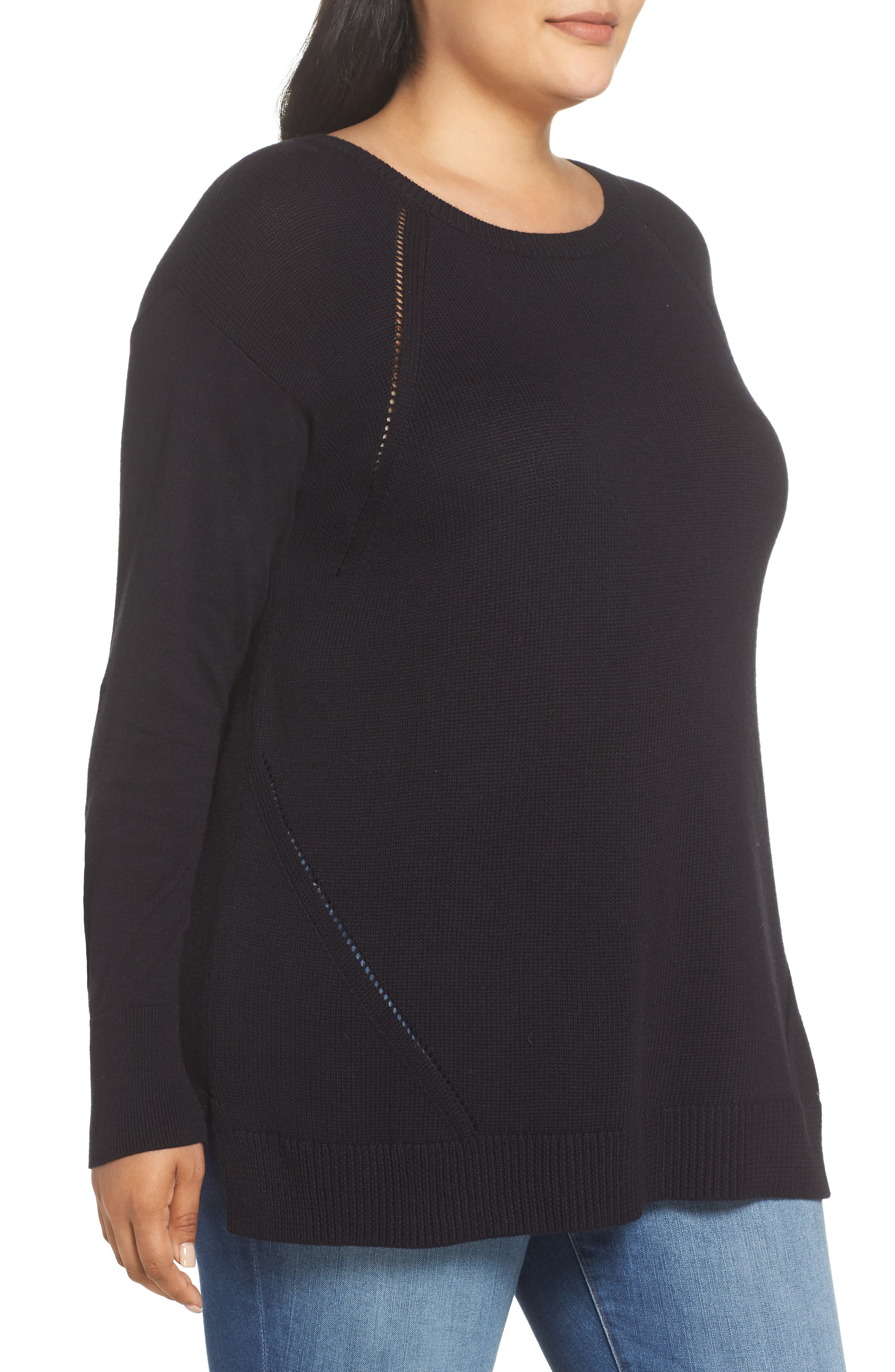 Button Back Tunic Sweater,                             Alternate thumbnail 3, color,                             001
