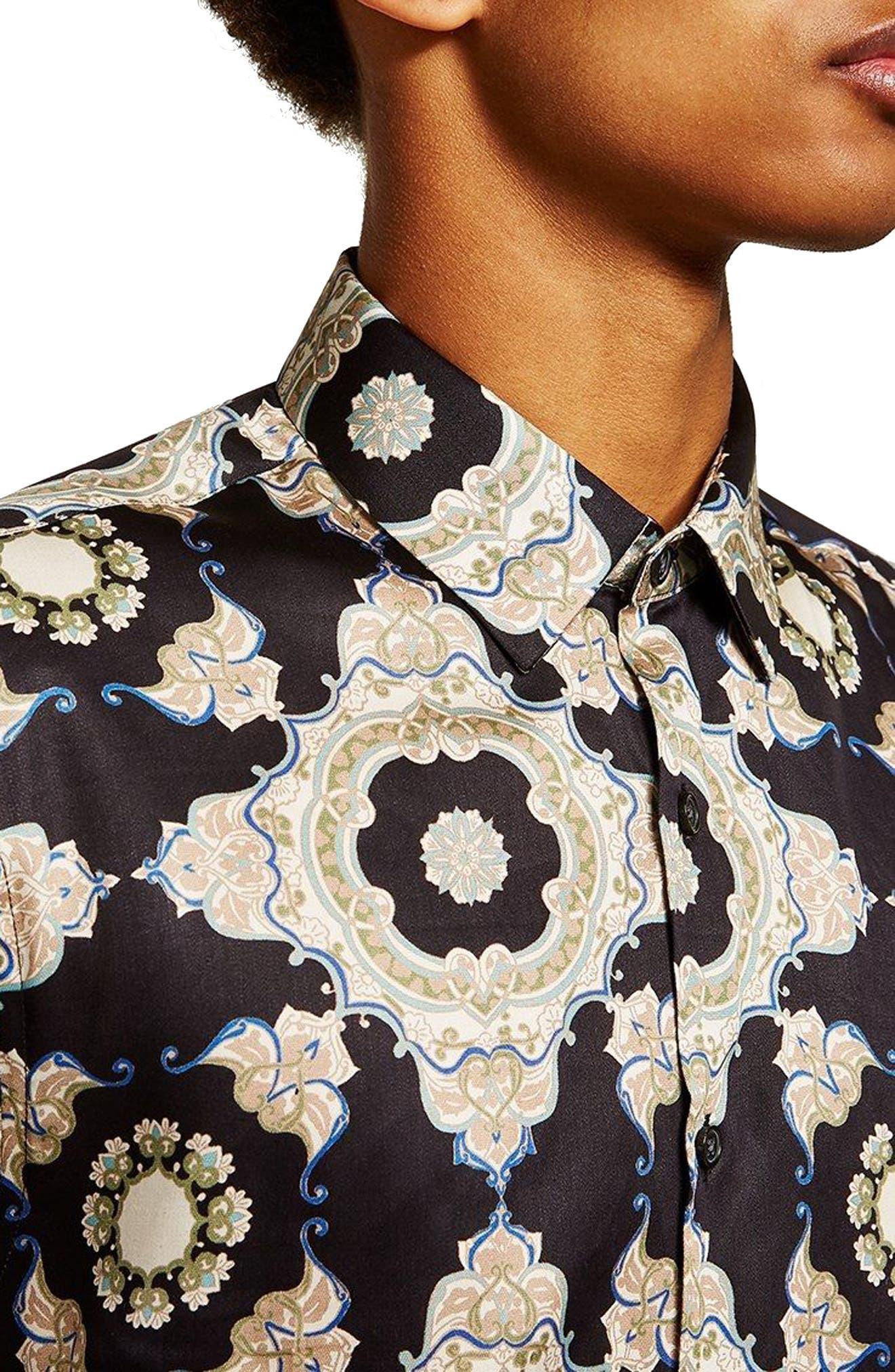 Slim Fit Print Shirt,                             Alternate thumbnail 2, color,                             001