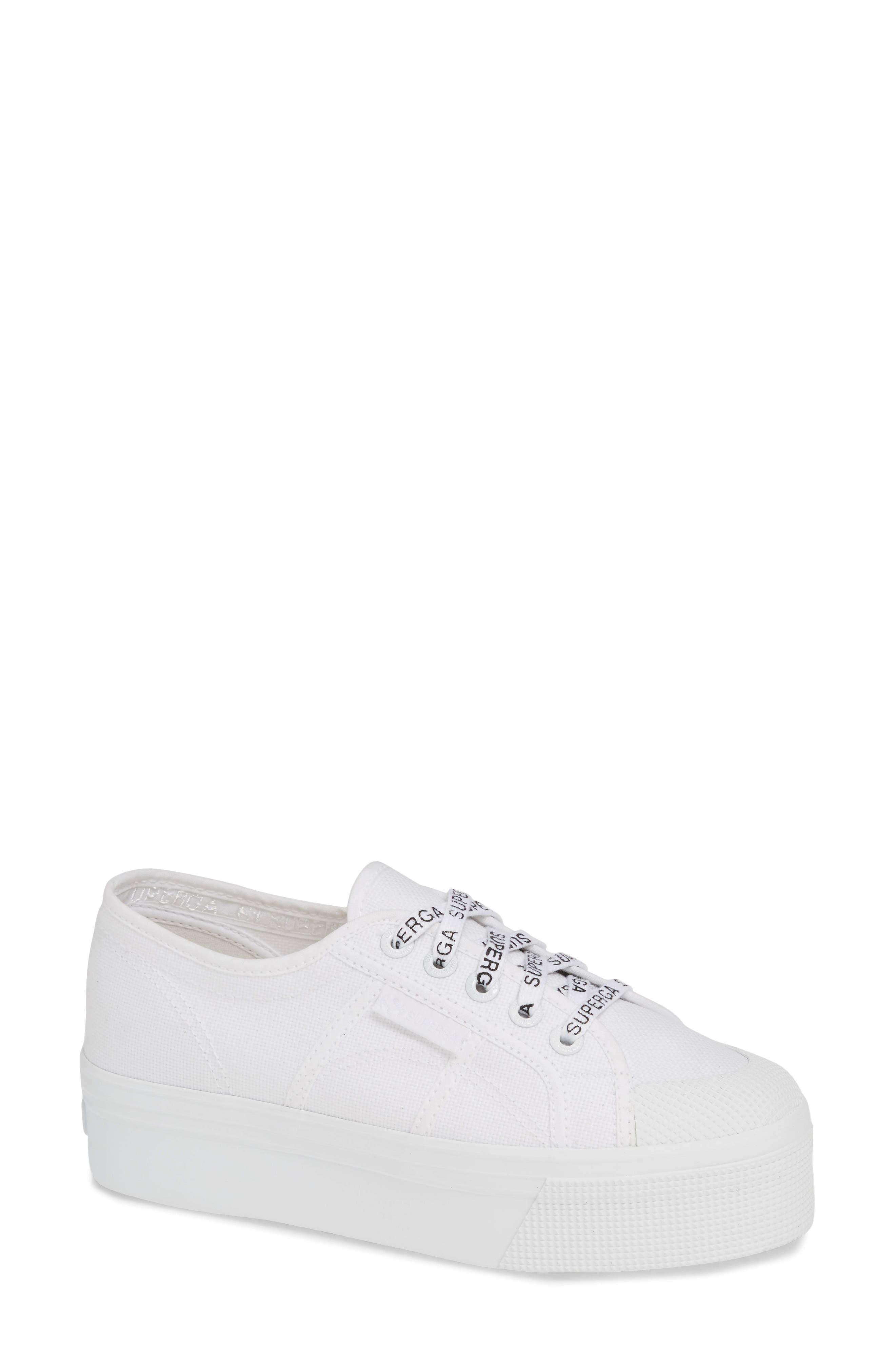 SUPERGA Women'S Cotu Classic Low-Top Platform Sneakers in White/ White