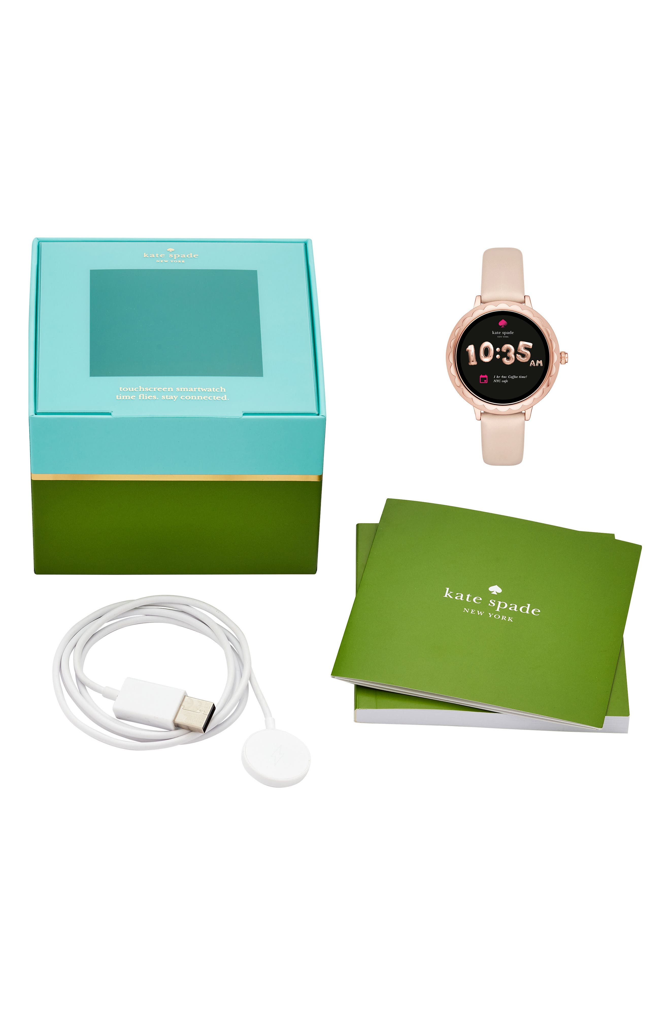 scallop leather strap touchscreen smart watch, 42mm,                             Alternate thumbnail 4, color,                             BEIGE/ PINK