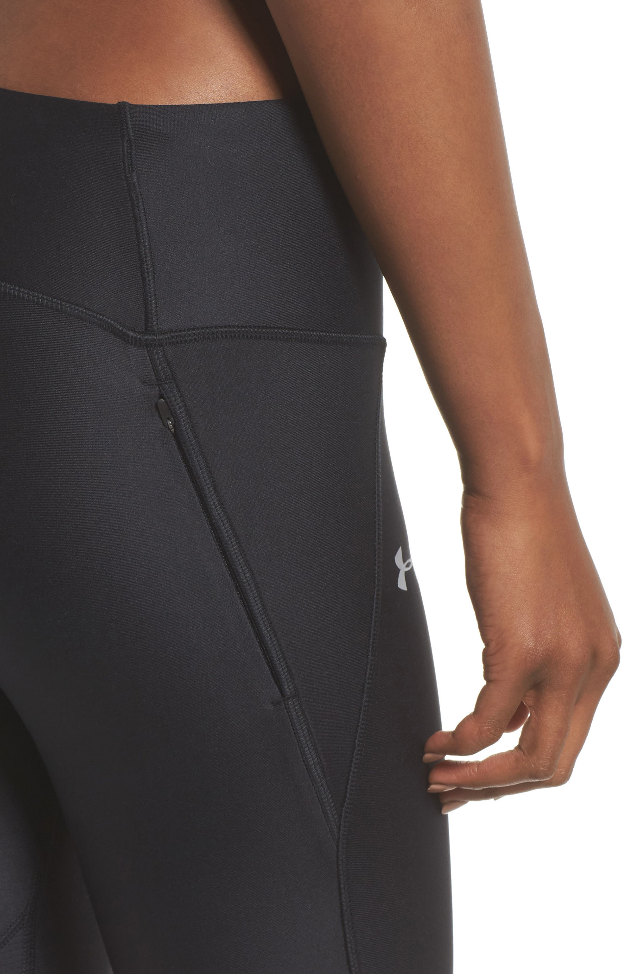 Fly Fast HeatGear<sup>®</sup> Crop Leggings,                             Alternate thumbnail 4, color,                             BLACK