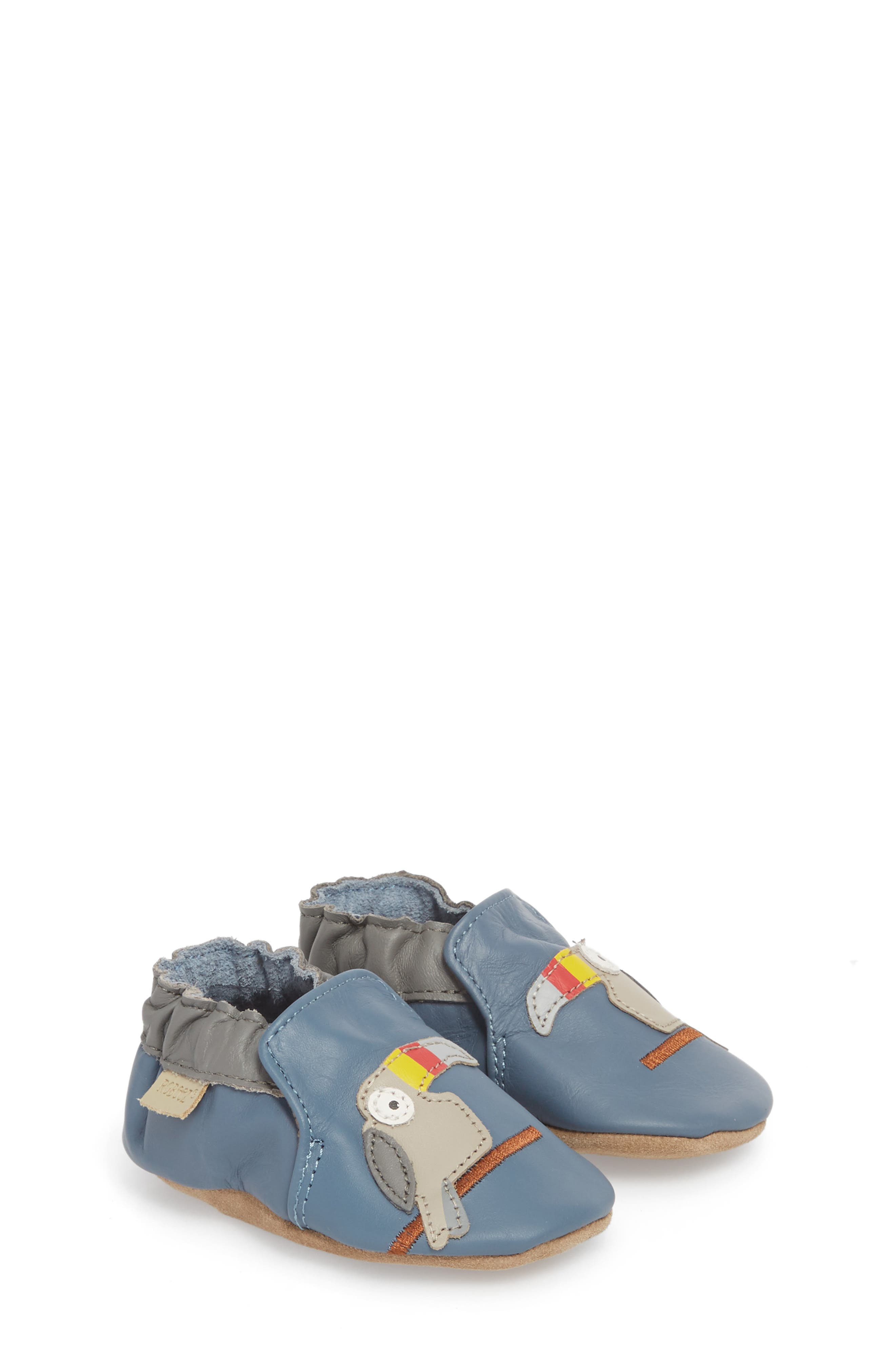 Toucan Tom Moccasin Crib Shoe,                         Main,                         color, CHINA BLUE