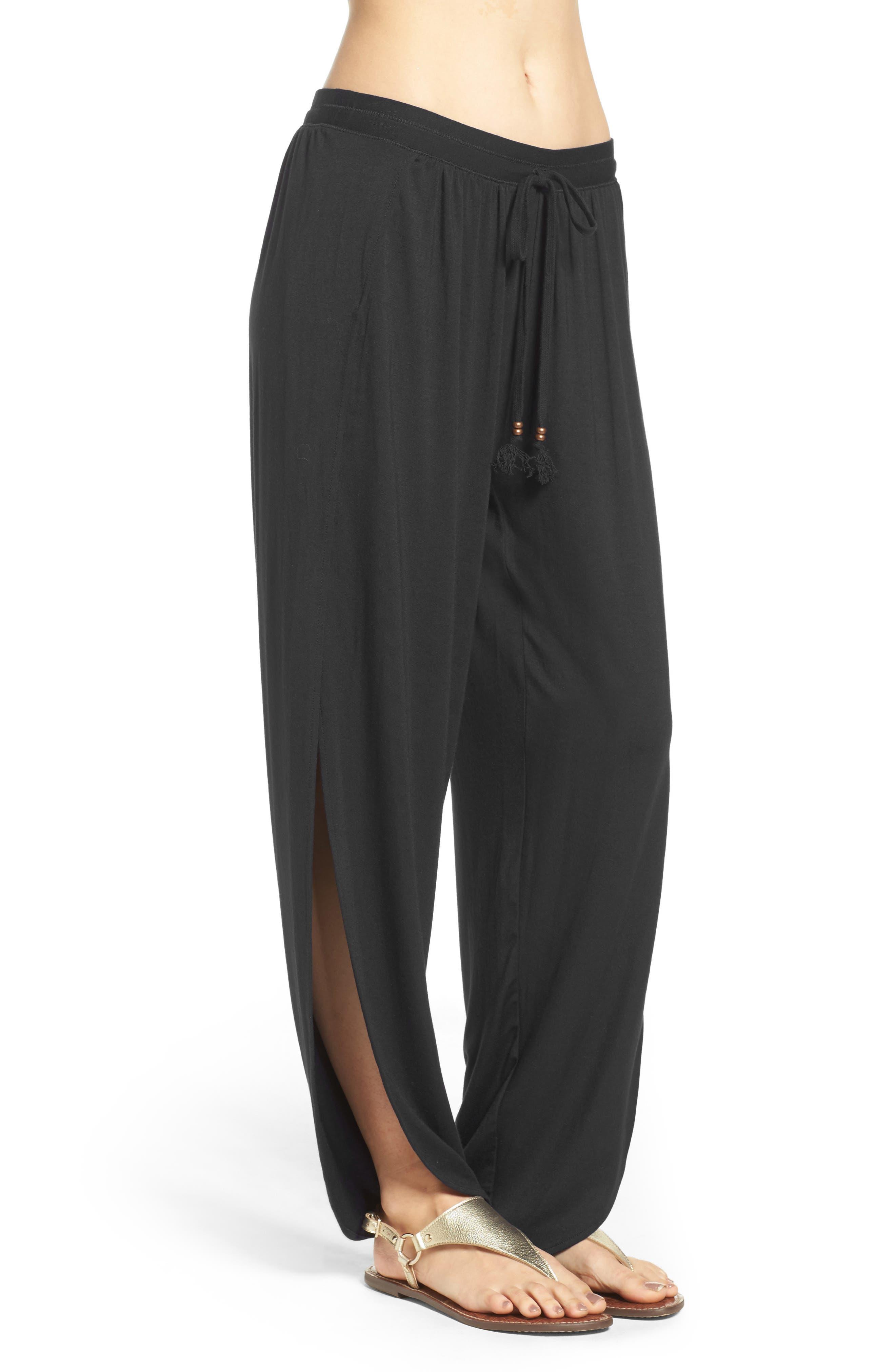 ROBIN PICCONE,                             Side Split Cover-Up Pants,                             Alternate thumbnail 3, color,                             BLACK