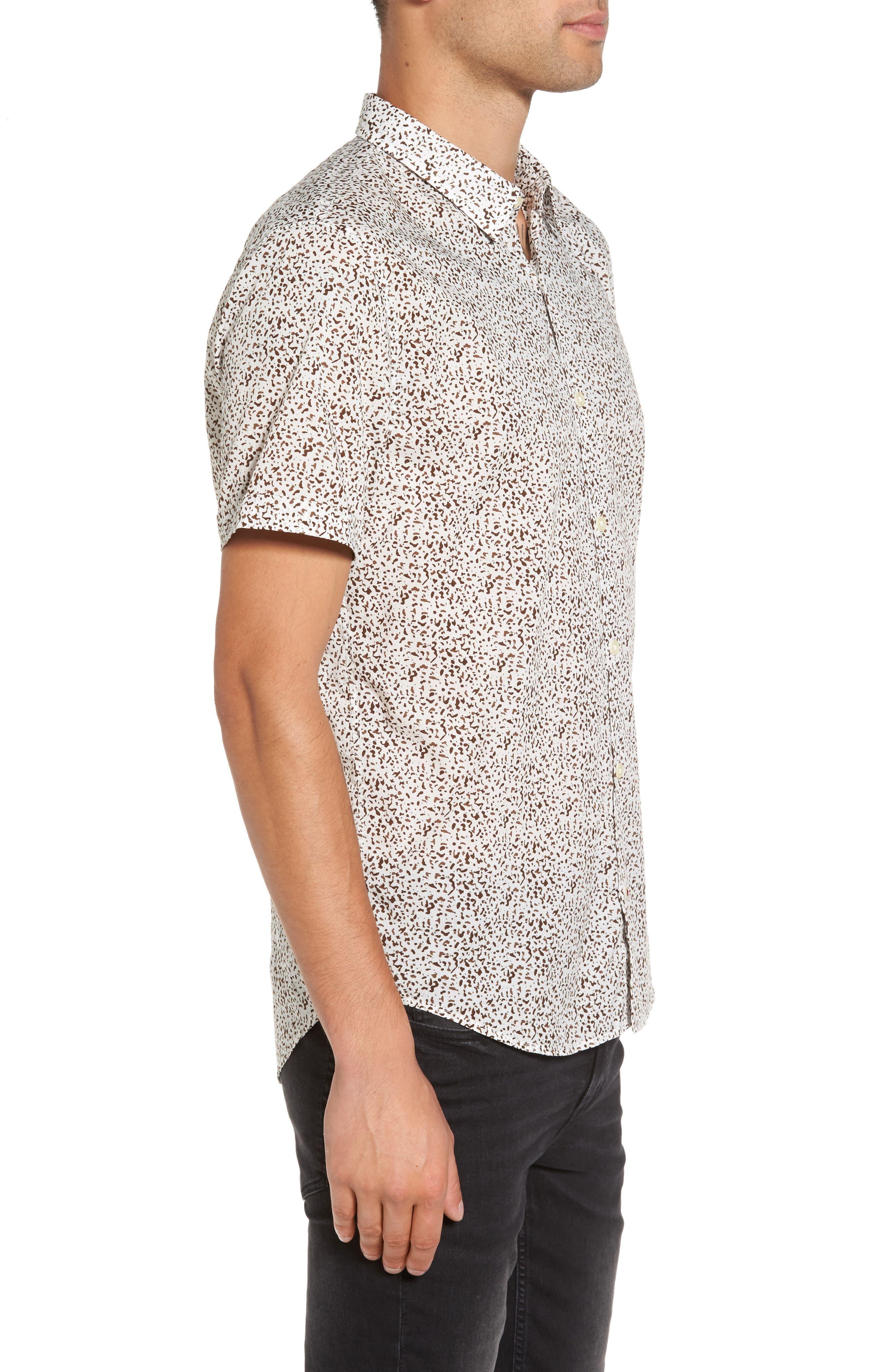 Slim Fit Animal Print Short Sleeve Sport Shirt,                             Alternate thumbnail 3, color,                             LIGHT KHAKI