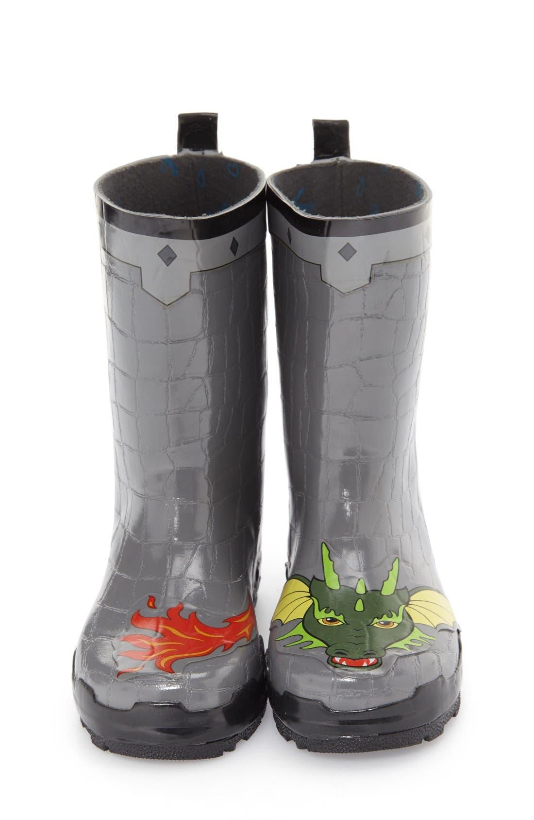 'Dragon Knight' Waterproof Rain Boot,                             Alternate thumbnail 3, color,                             020