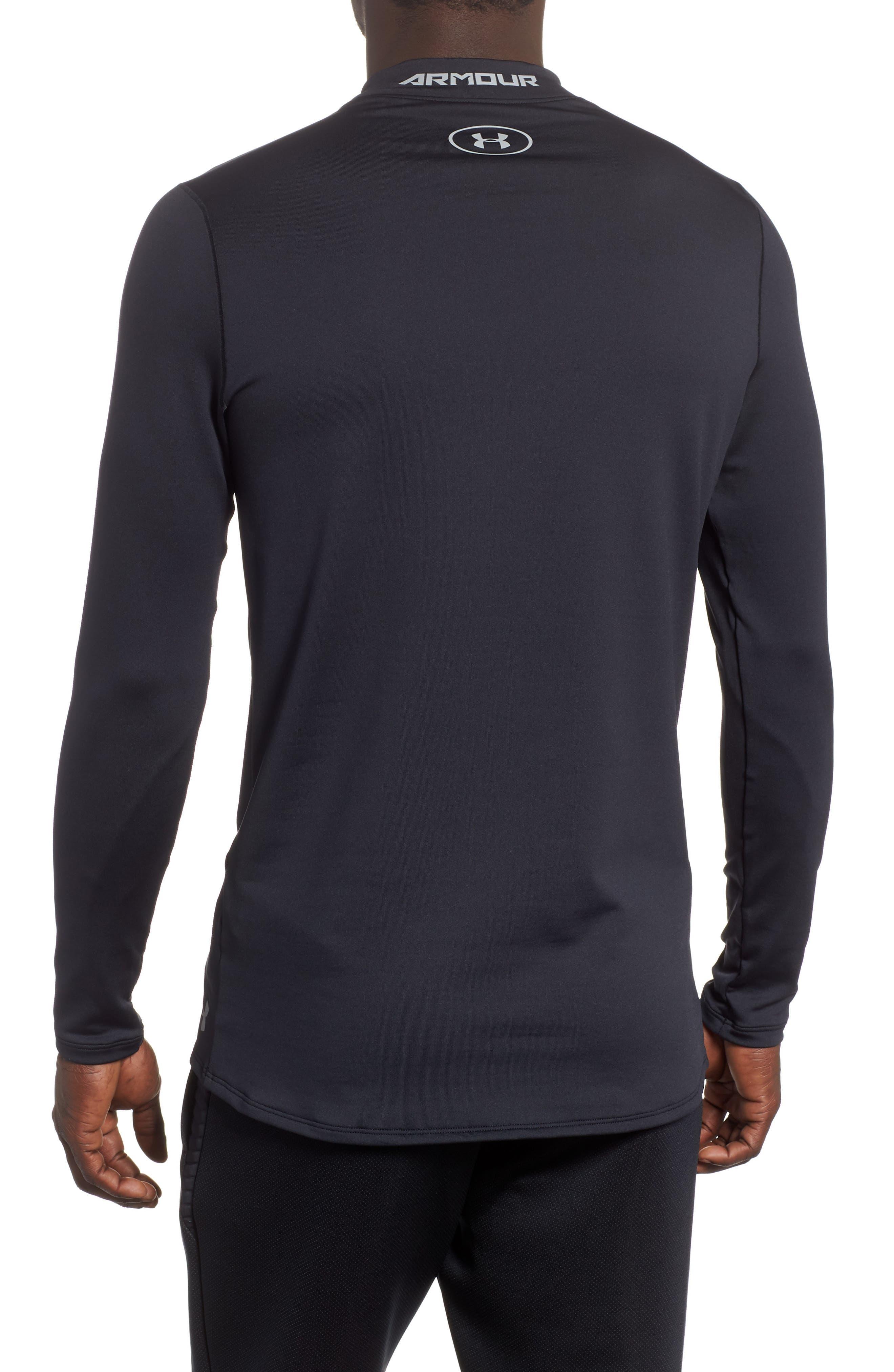 ColdGear<sup>®</sup> Mock Neck Long Sleeve T-Shirt,                             Alternate thumbnail 2, color,                             BLACK/ STEEL