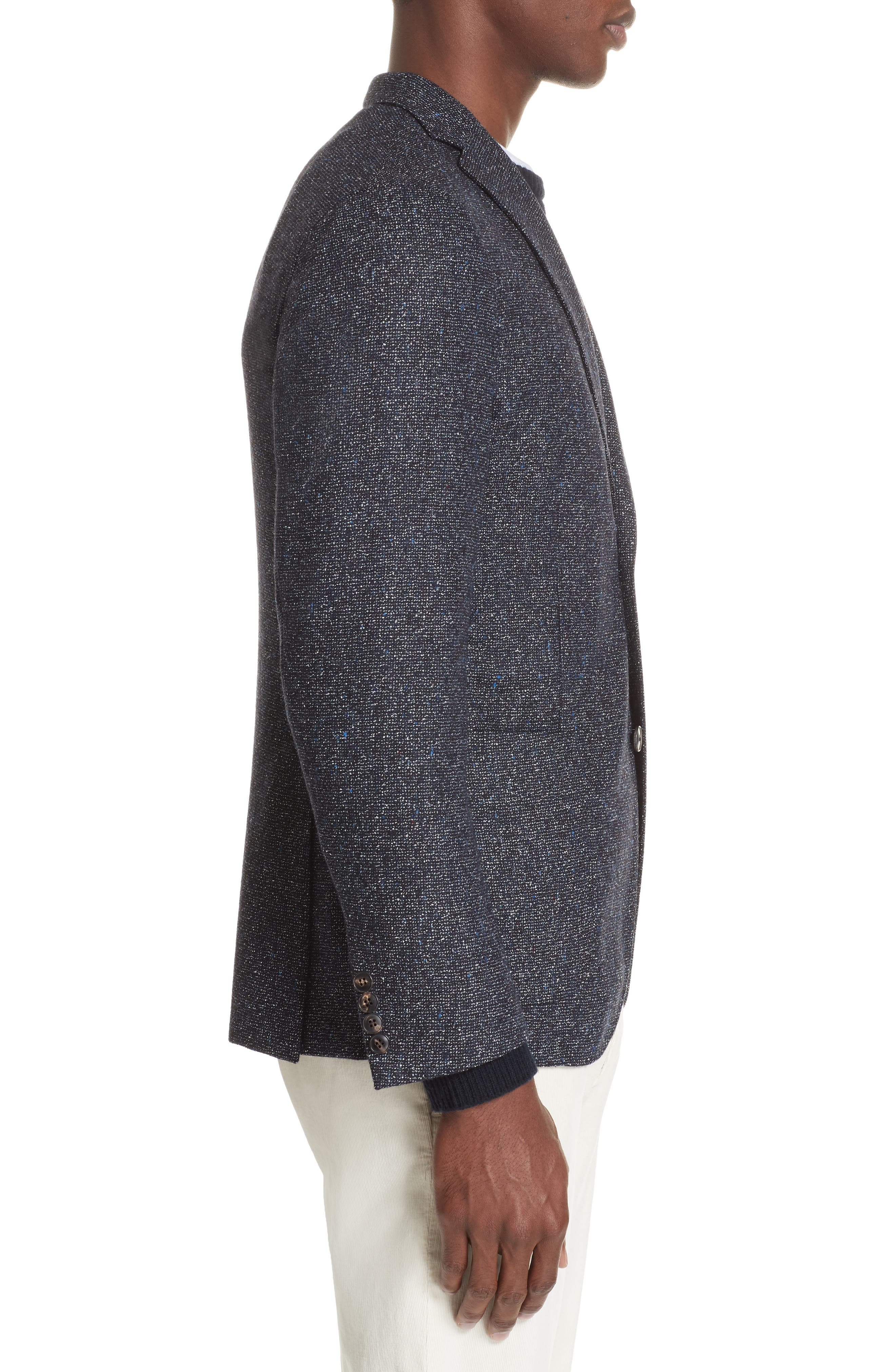 Trim Fit Tweed Wool Blend Blazer,                             Alternate thumbnail 3, color,                             NAVY