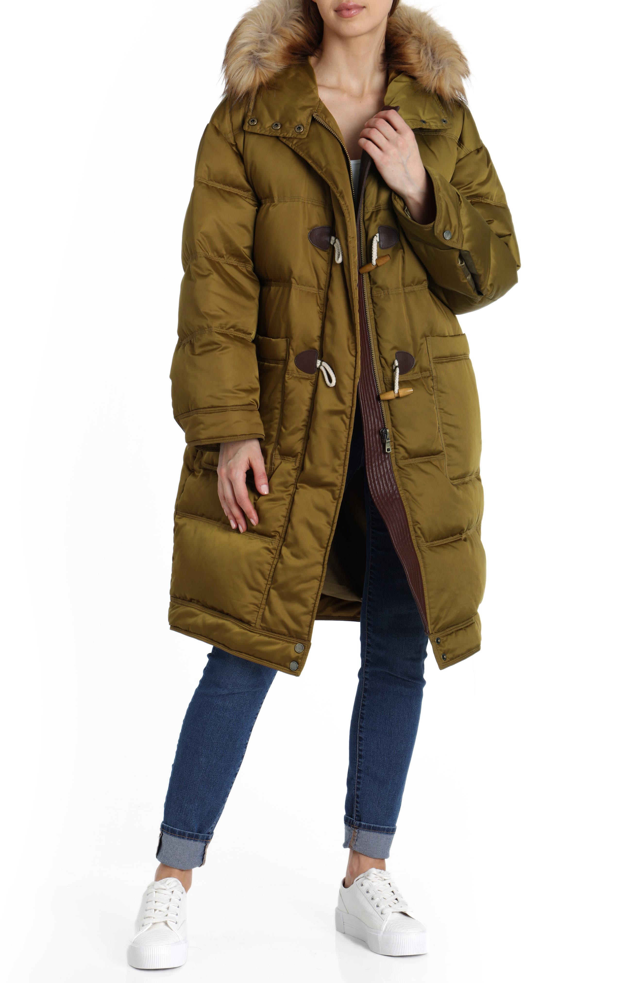 Water Resistant Insulated Parka with Faux-Fur Trim,                             Main thumbnail 1, color,                             301