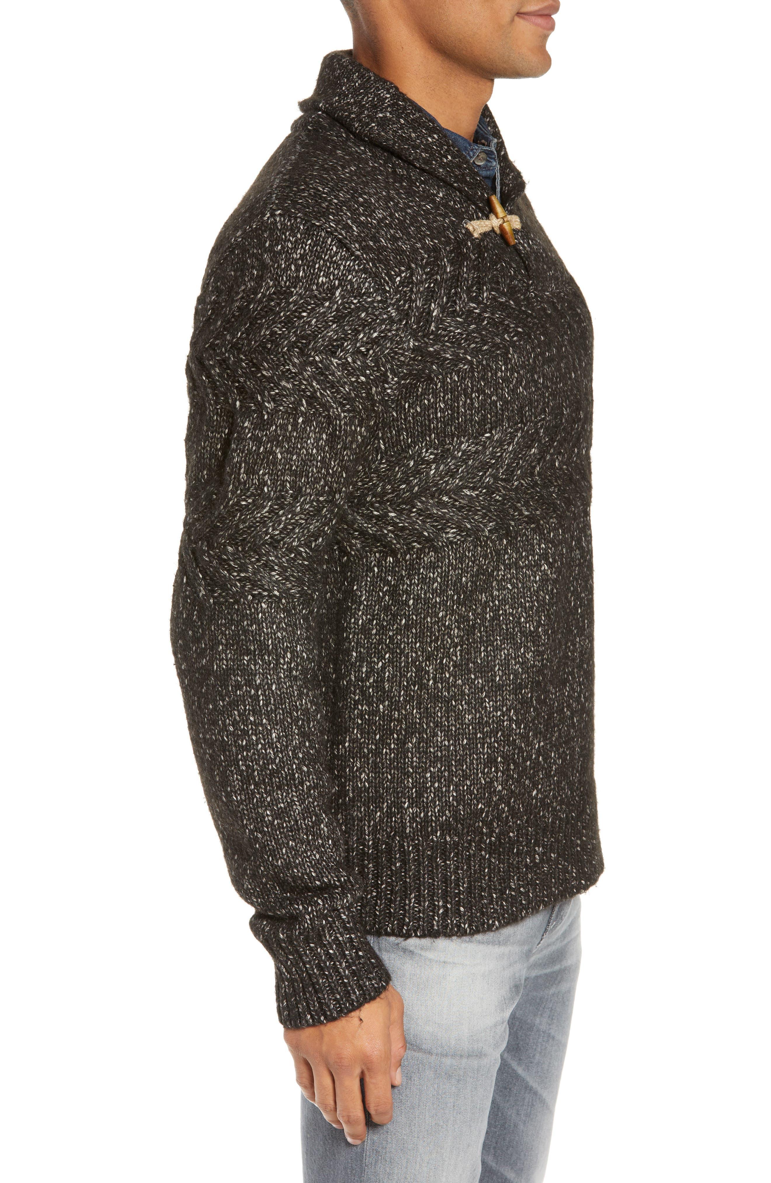 SCHOTT NYC,                             Heathered Shawl Collar Sweater,                             Alternate thumbnail 3, color,                             BLACK