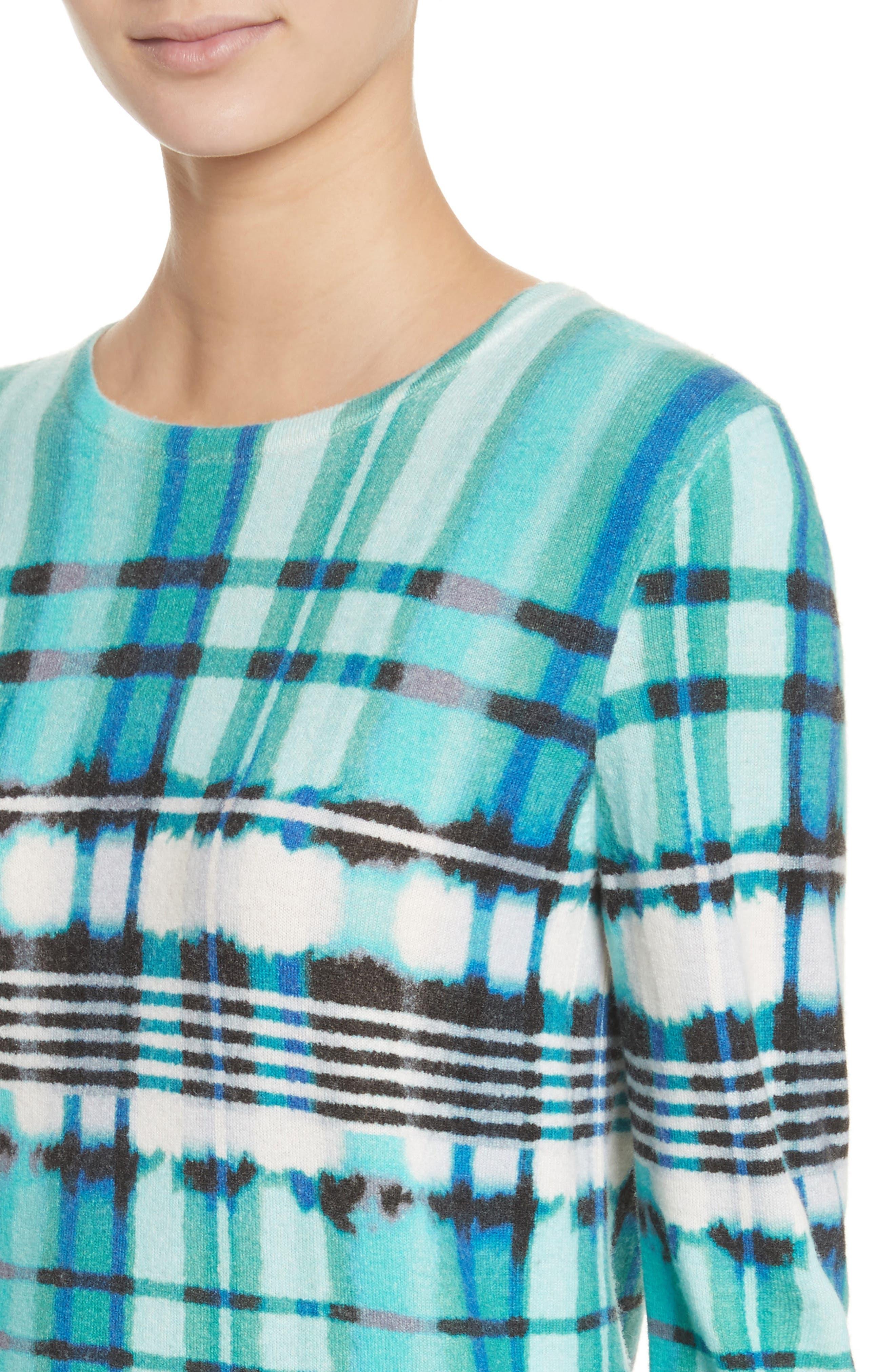 Overprint Plaid Cashmere Sweater,                             Alternate thumbnail 4, color,                             350