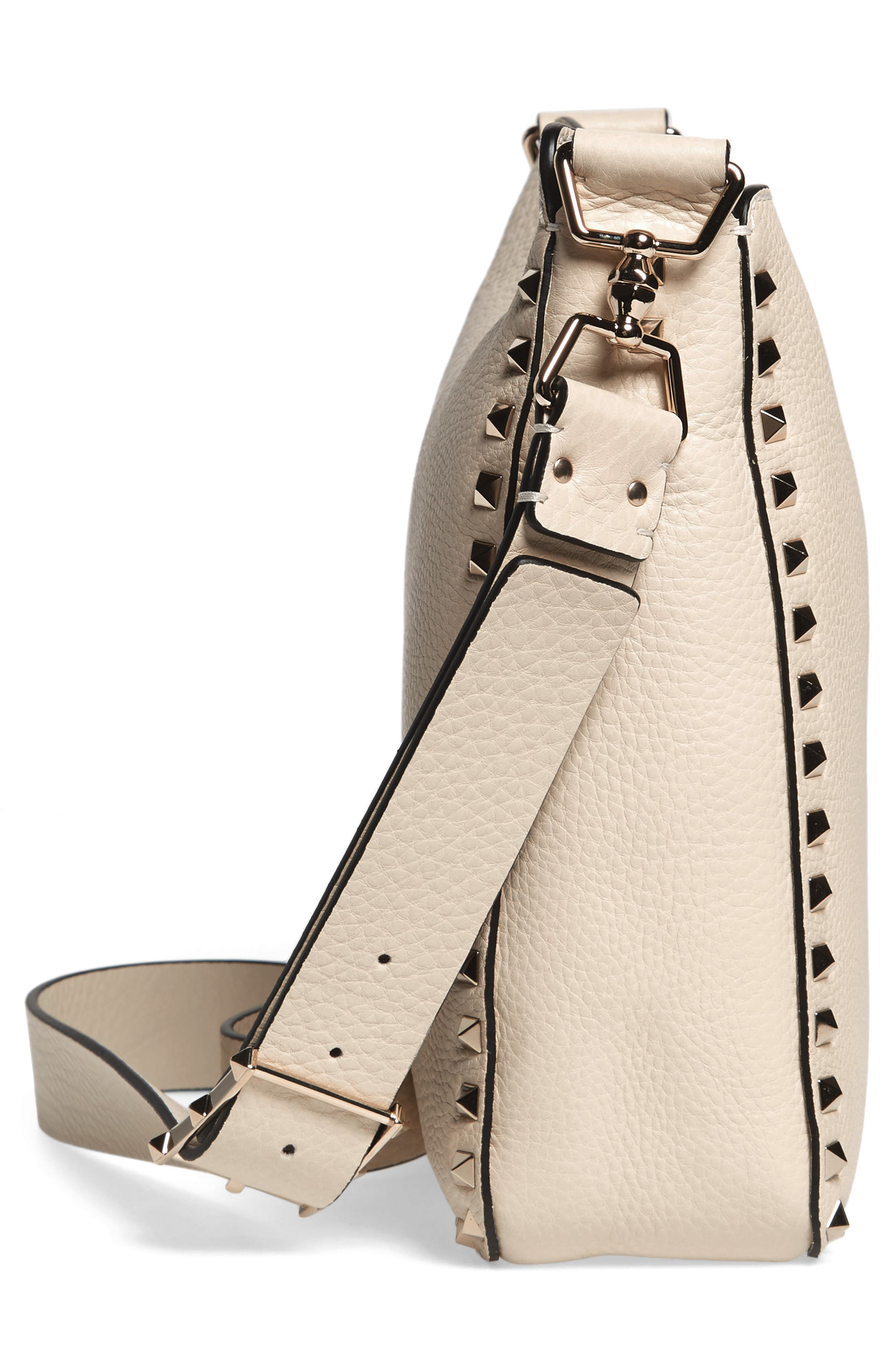 Small Rockstud Leather Hobo,                             Alternate thumbnail 5, color,                             LIGHT IVORY