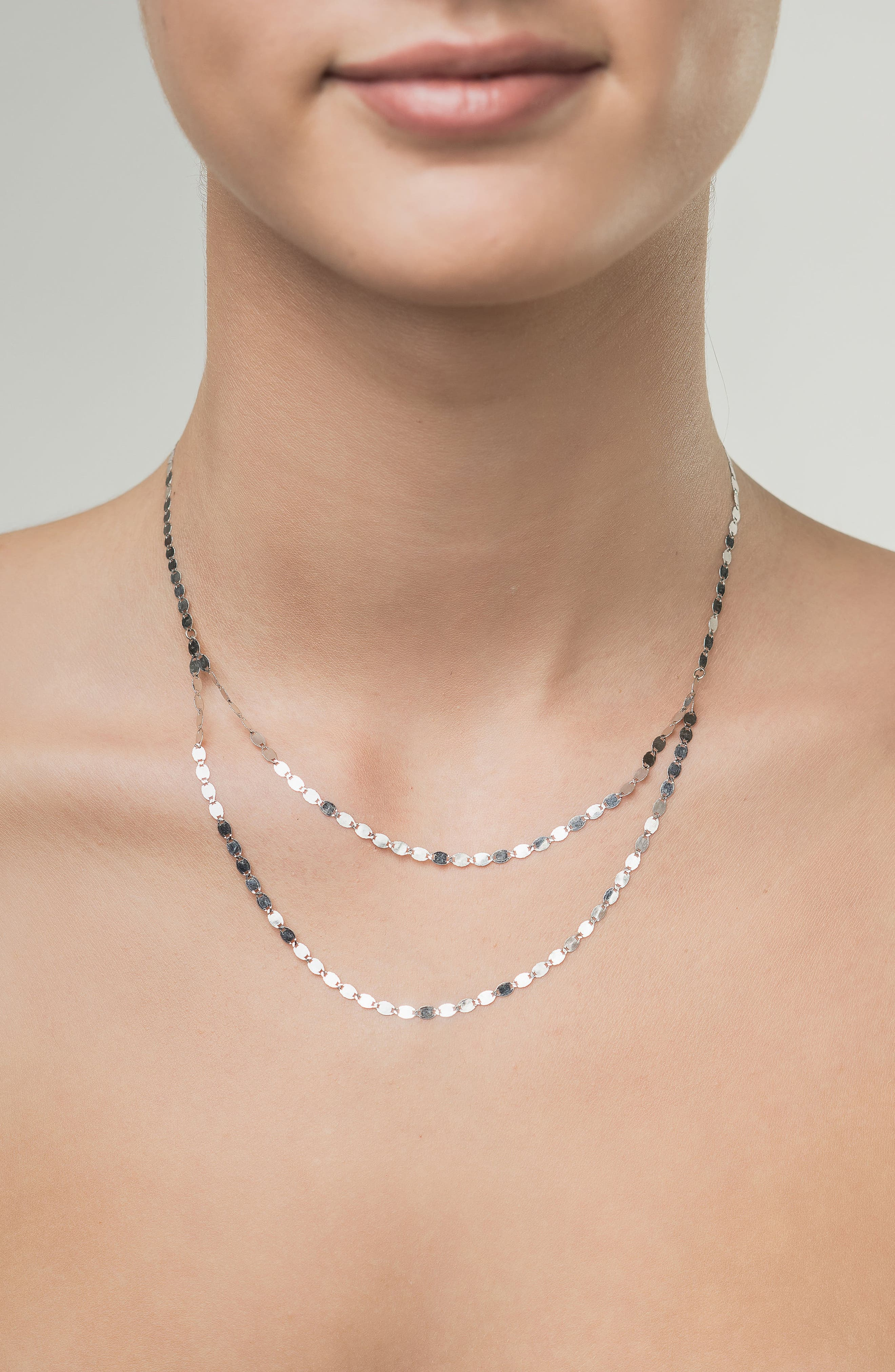 Chain Double Layer Necklace,                             Alternate thumbnail 2, color,                             WHITE GOLD