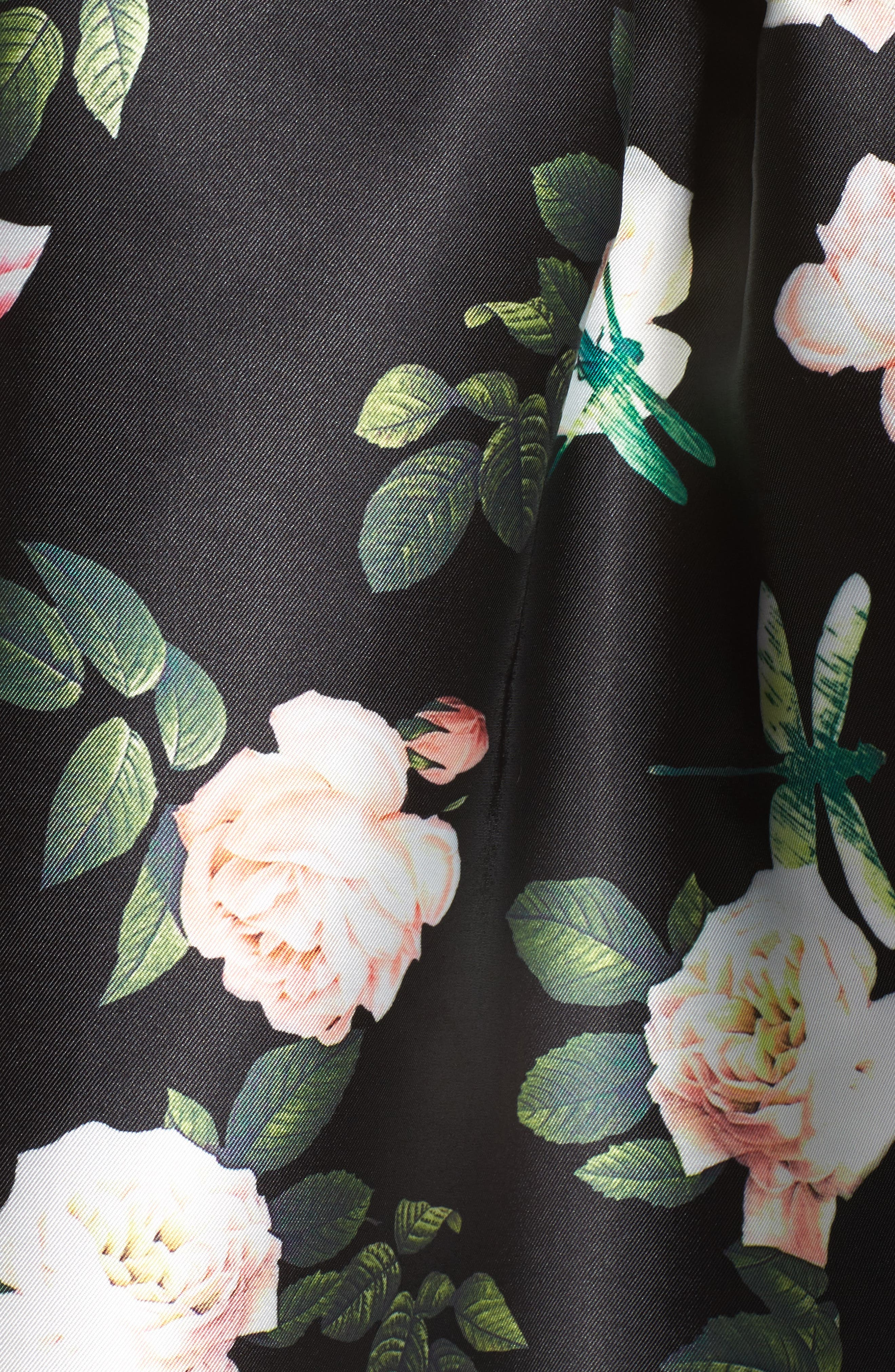 Floral Fit & Flare Dress,                             Alternate thumbnail 5, color,                             001