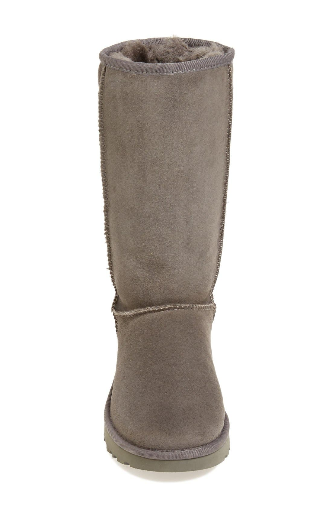 'Classic II' Genuine Shearling Lined Tall Boot,                             Alternate thumbnail 3, color,                             GREY SUEDE