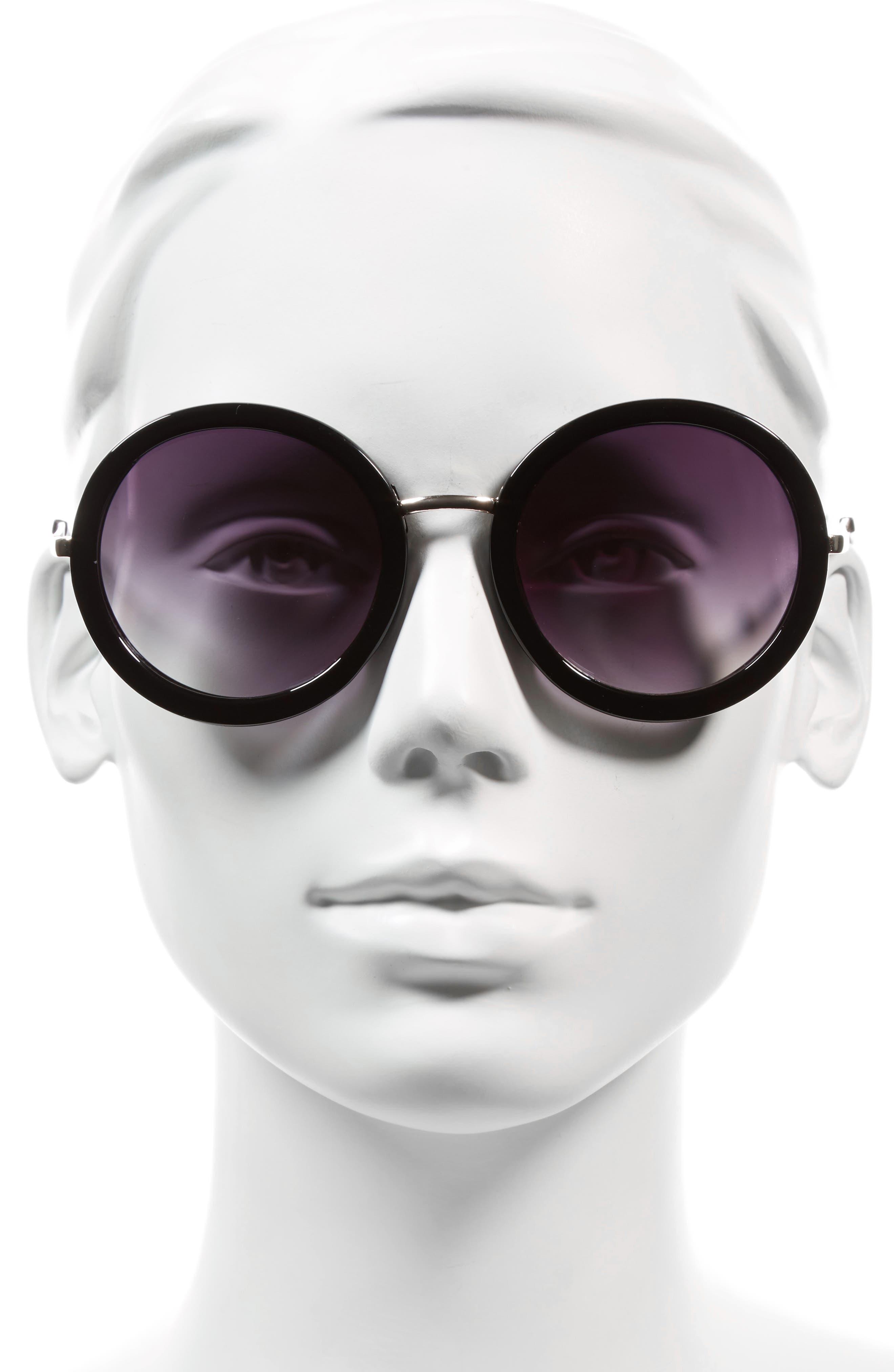 51mm Round Sunglasses,                             Alternate thumbnail 2, color,                             001