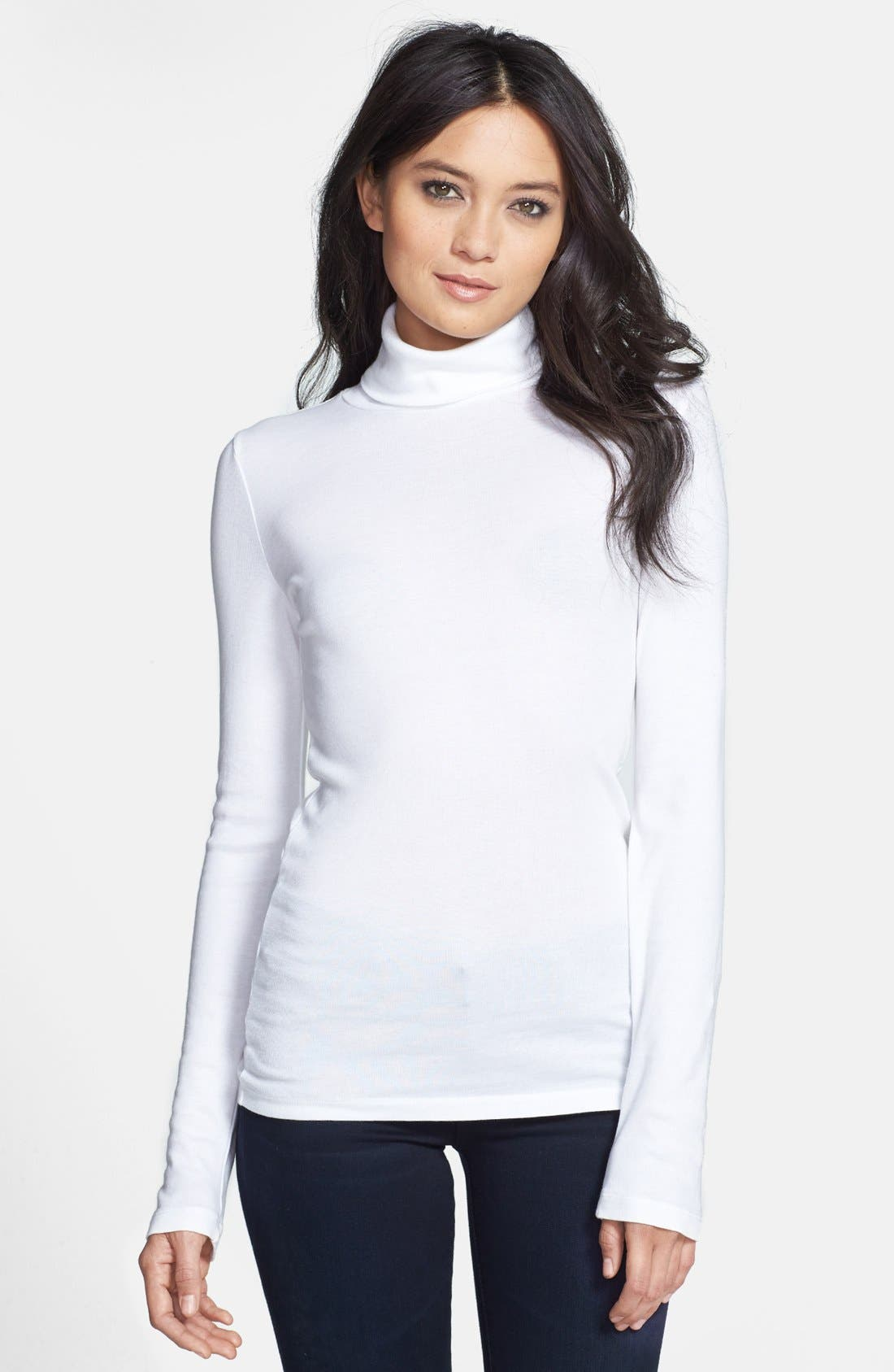 Fitted Turtleneck,                             Main thumbnail 1, color,                             WHITE