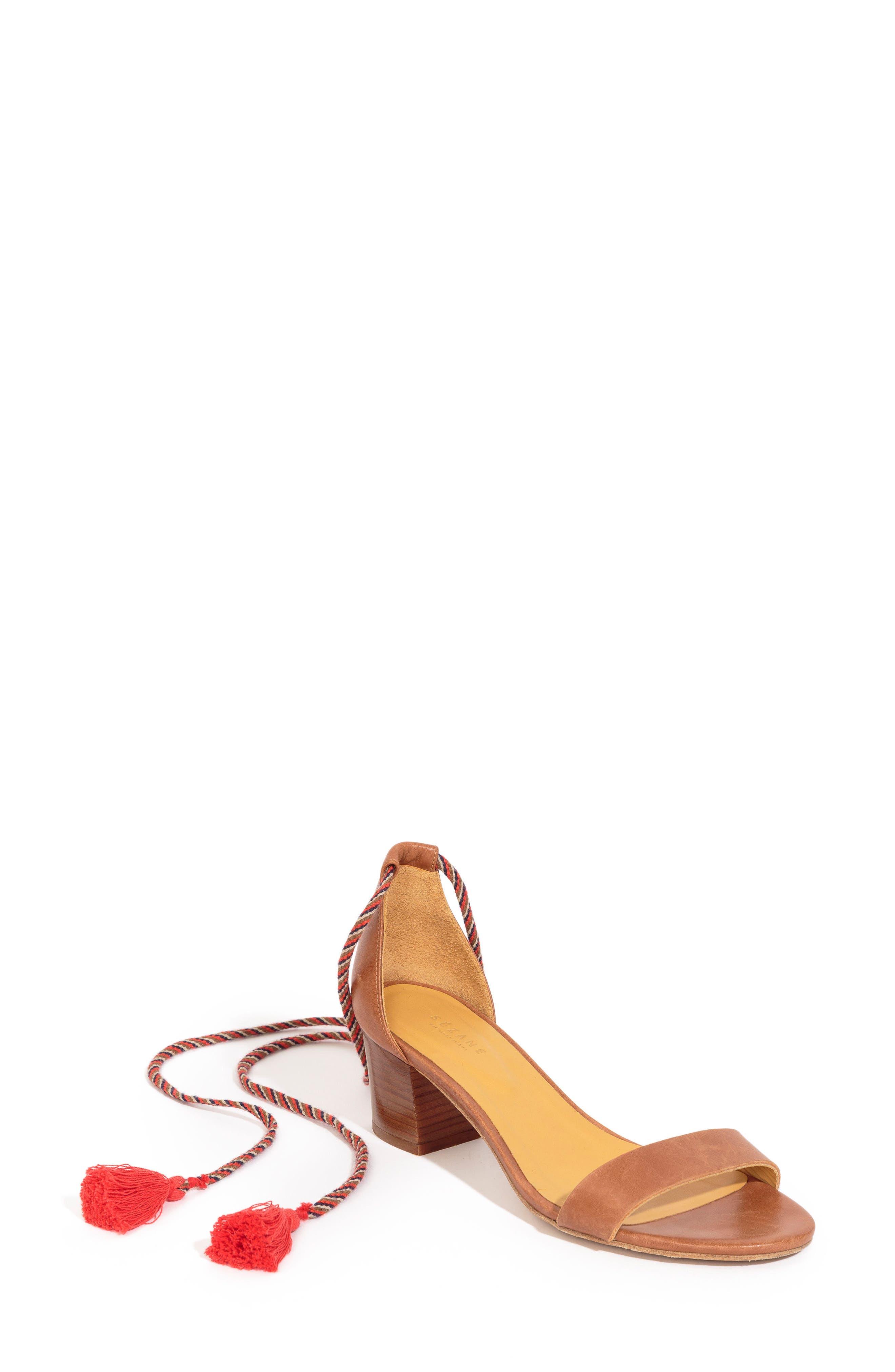 Lorenzo Ankle Wrap Block Heel Sandal,                         Main,                         color, CAMEL LEATHER