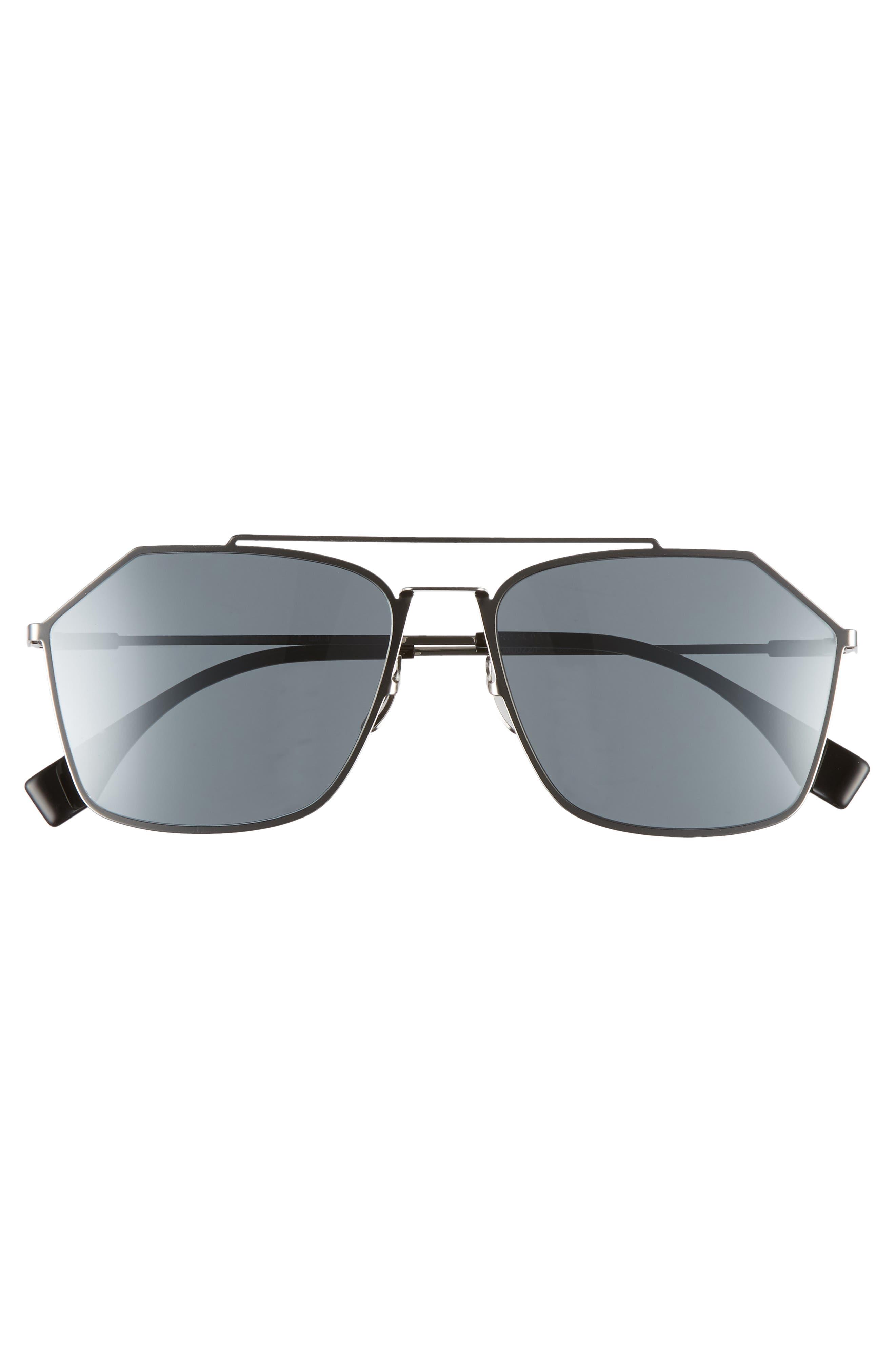 59mm Navigator Sunglasses,                             Alternate thumbnail 3, color,                             RUTHENIUM