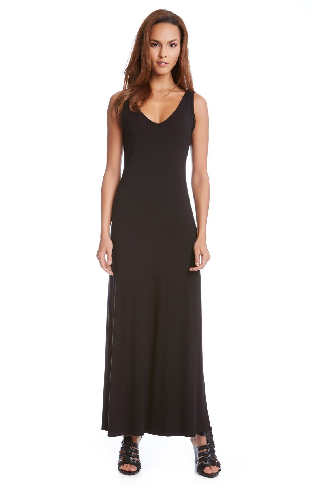 'Alana' Double V-Neck Maxi Dress,                         Main,                         color, BLACK