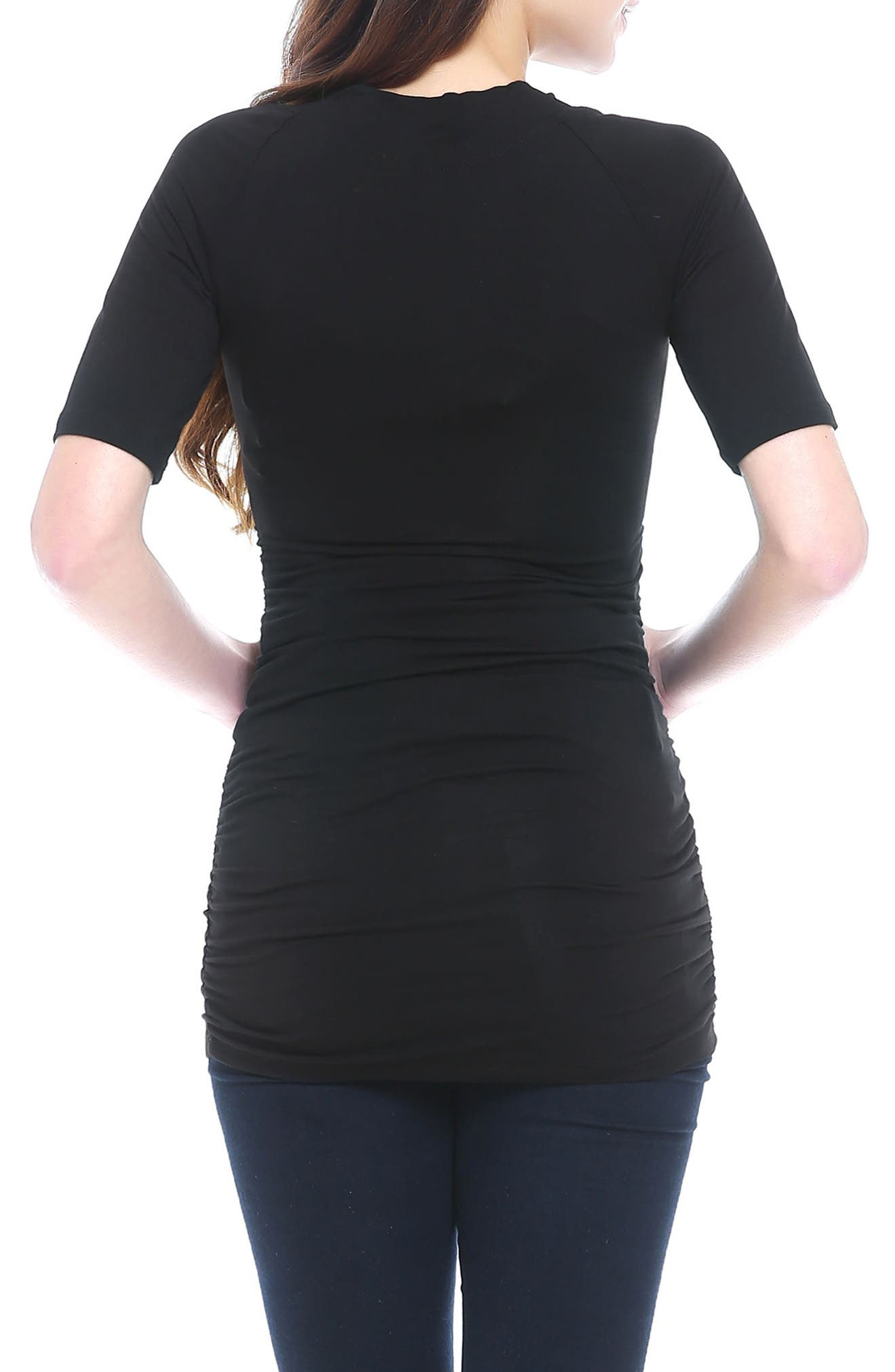 Poppy Ruched Maternity Tee,                             Alternate thumbnail 2, color,                             BLACK