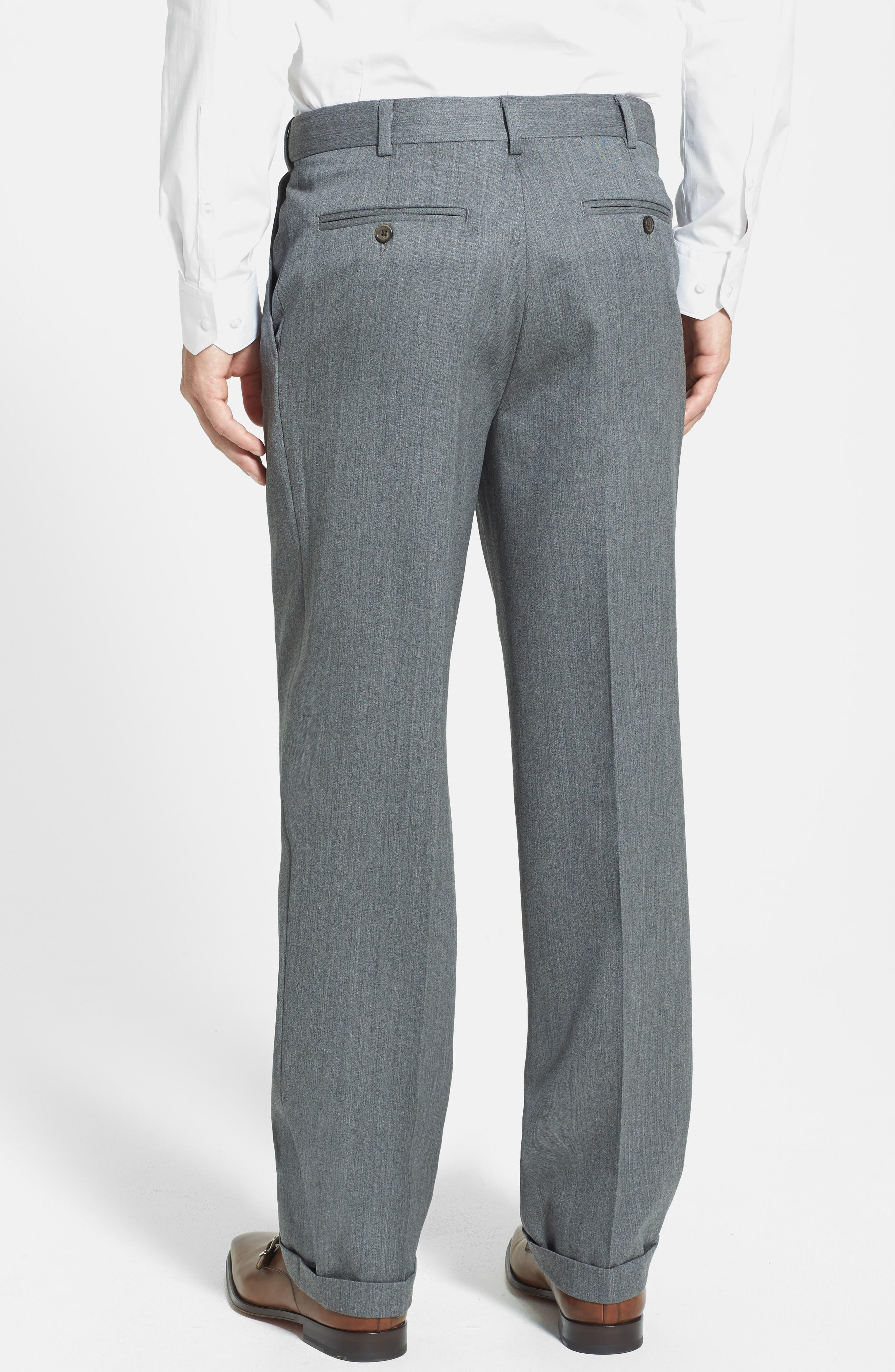 Self Sizer Waist Pleated Wool Gabardine Trousers,                             Alternate thumbnail 2, color,                             MEDIUM GREY