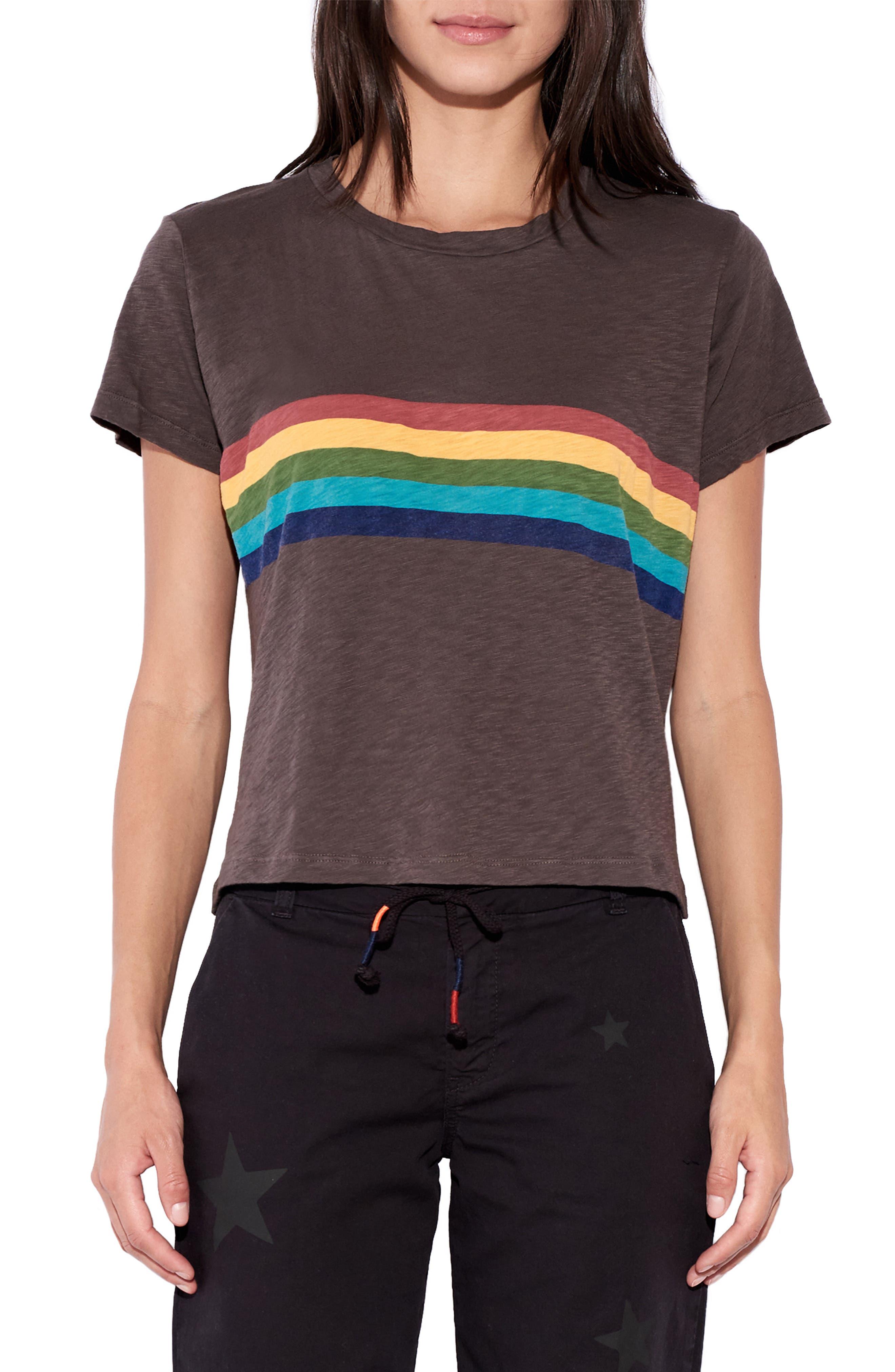 Women's 70s Shirts, Blouses, Hippie Tops Womens Sundry Rainbow Stripe Tee $78.00 AT vintagedancer.com