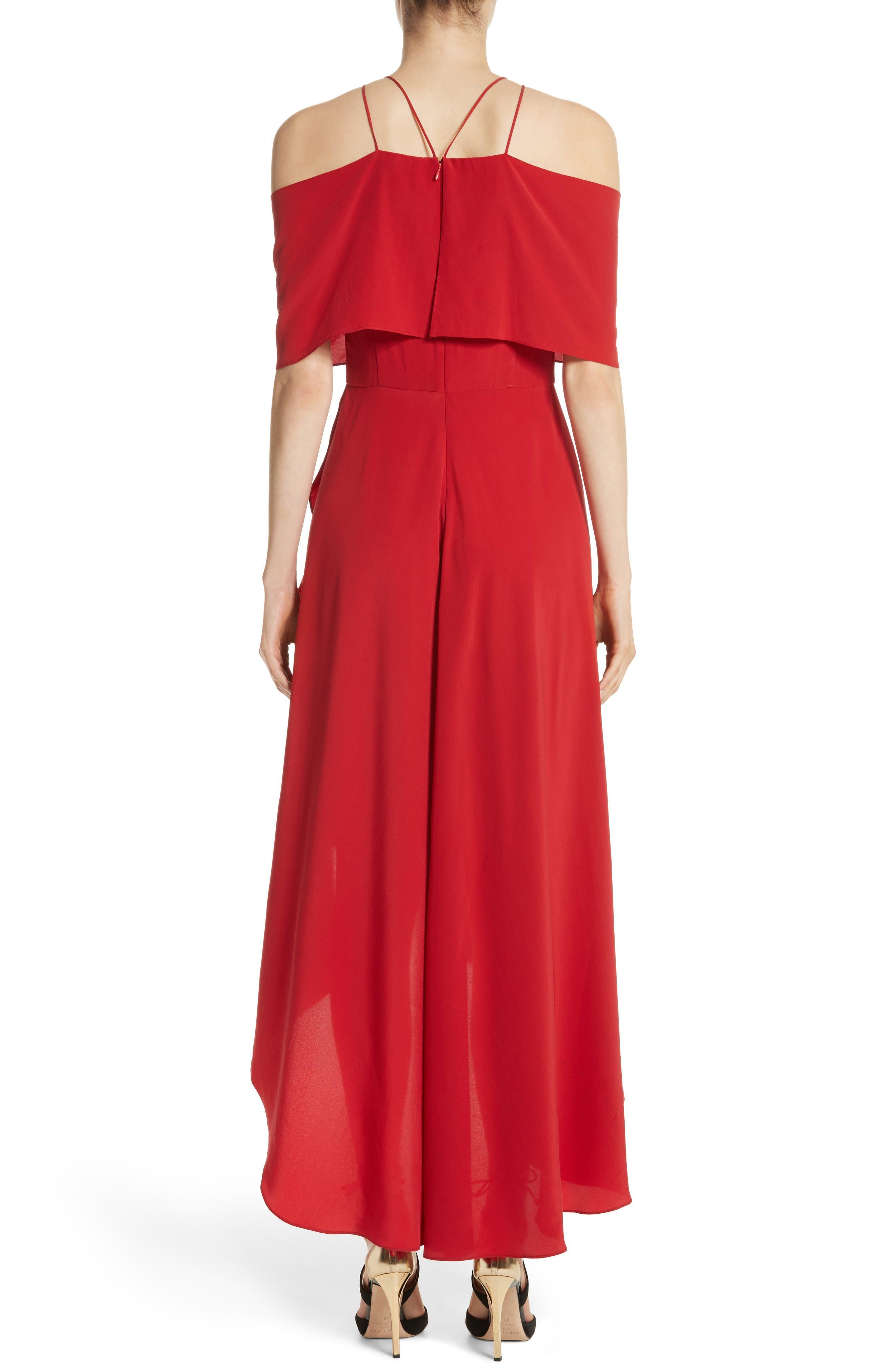 Cold Shoulder Silk Crepe Dress,                             Alternate thumbnail 2, color,                             620