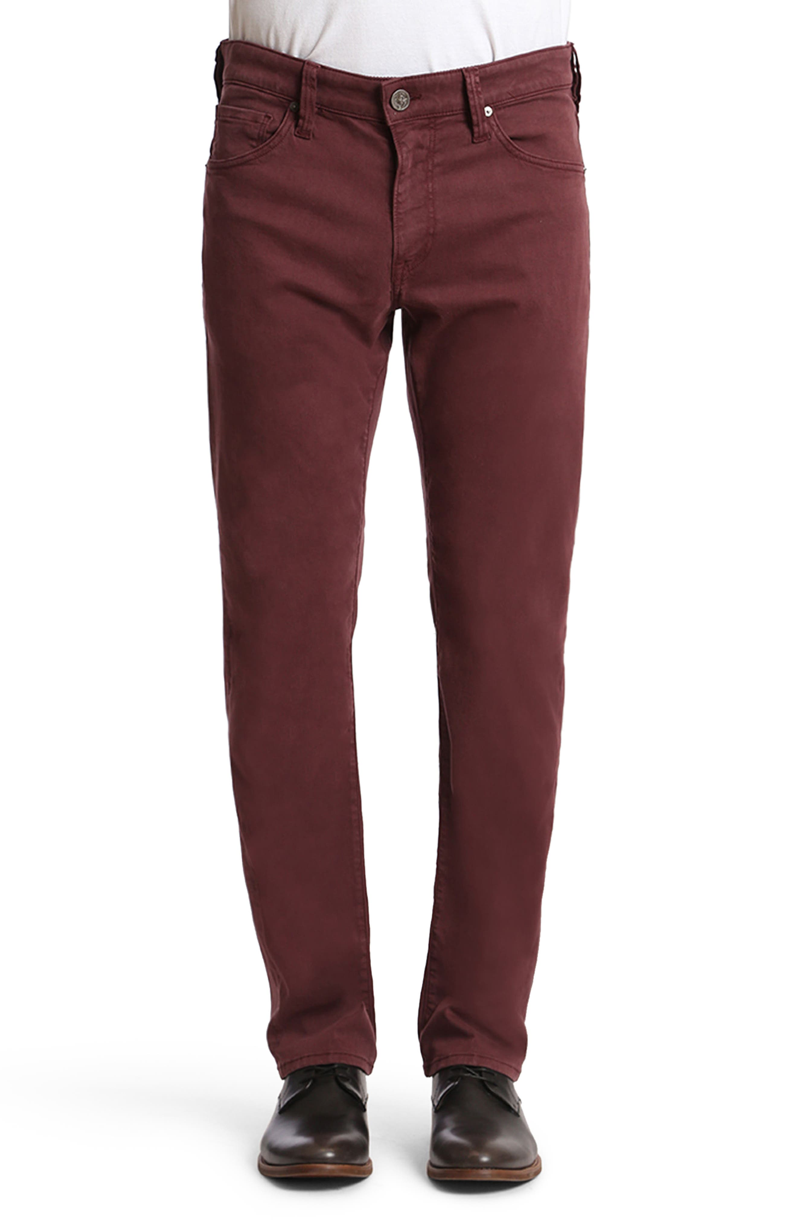Courage Straight Leg Twill Pants, Main, color, BORDEAUX TWILL