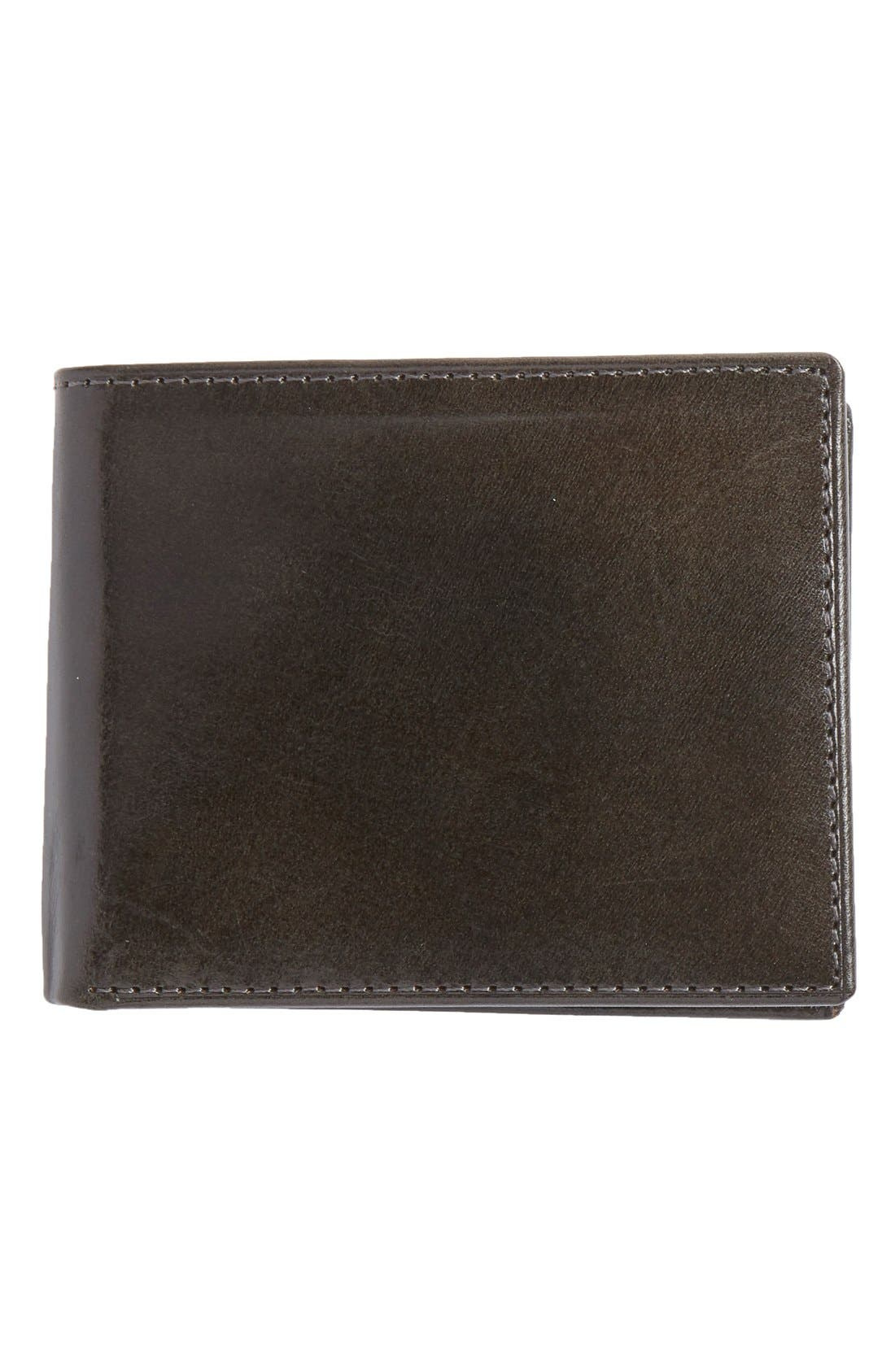 Flip Billfold Leather Wallet,                             Main thumbnail 1, color,                             CHARCOAL