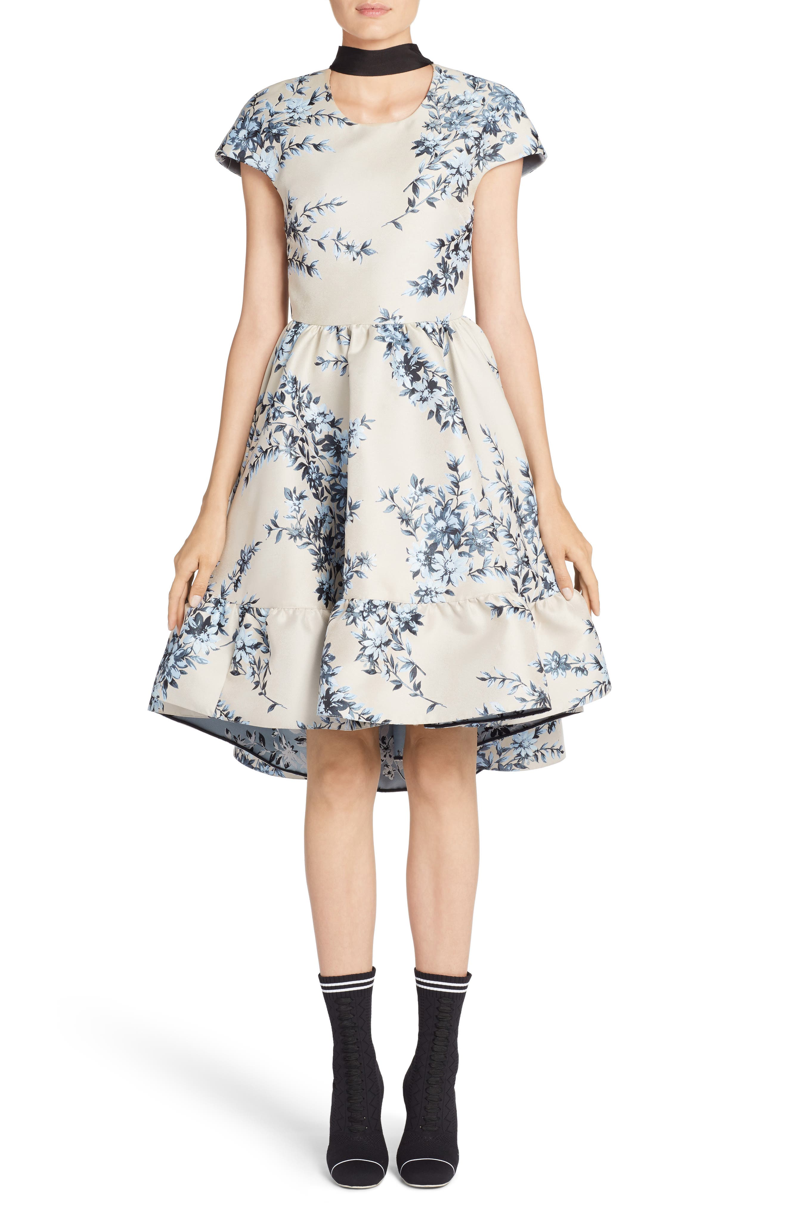 Floral Ramage Fit & Flare Dress,                         Main,                         color, 400